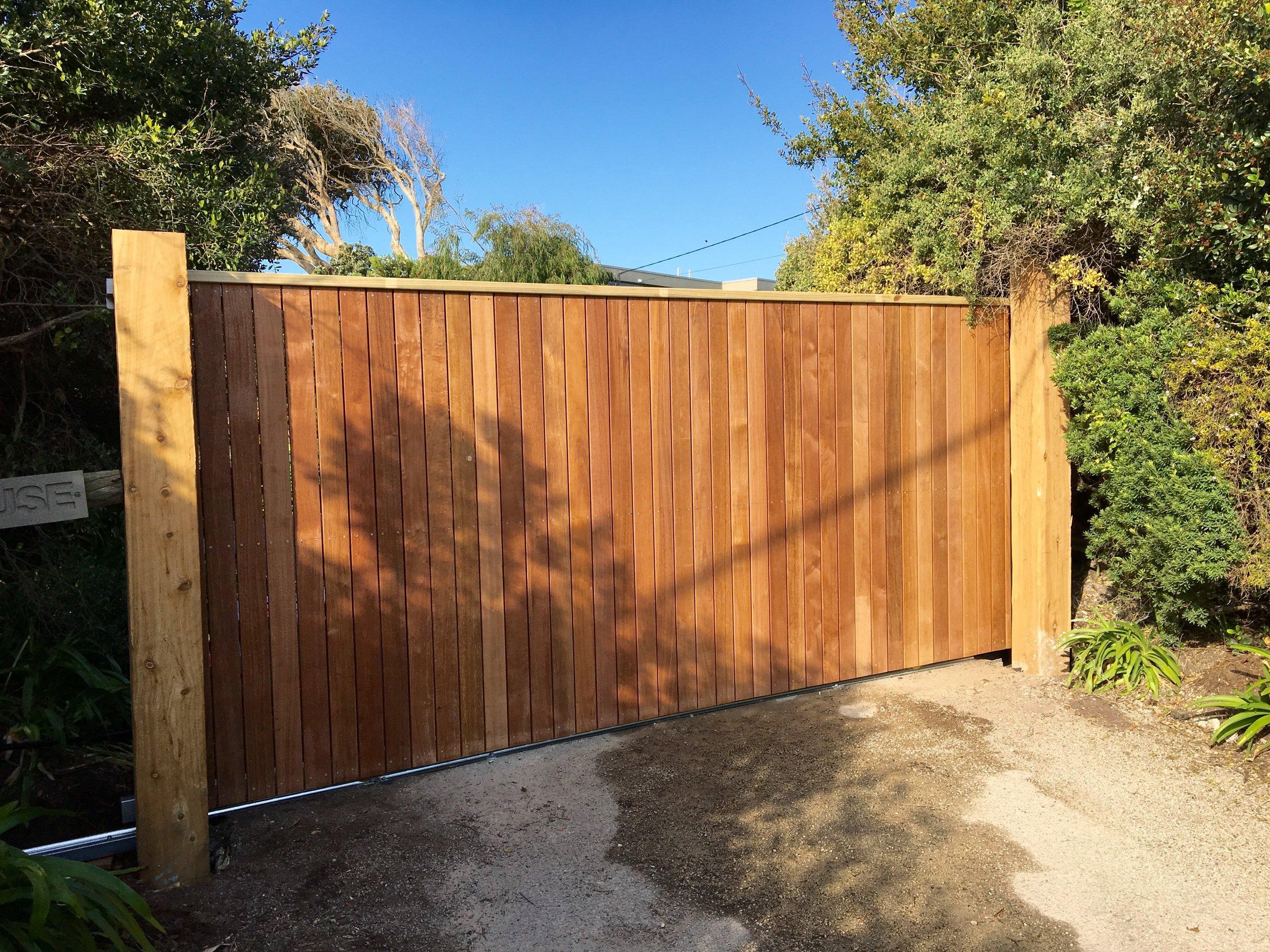 Custom Timber Sliding Gate Portsea