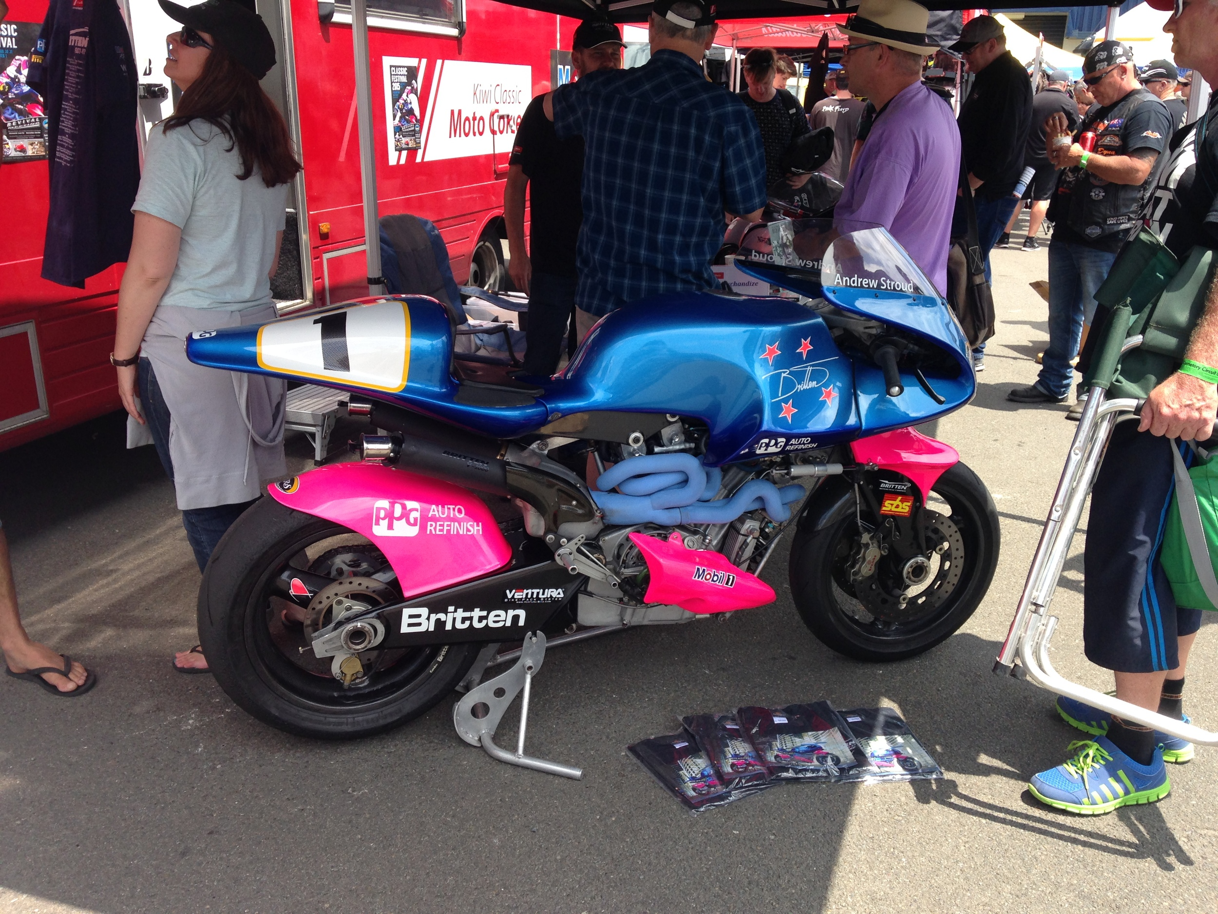 The beautiful Britten Motorbike- which Guy said was a 'magic carpet ride'