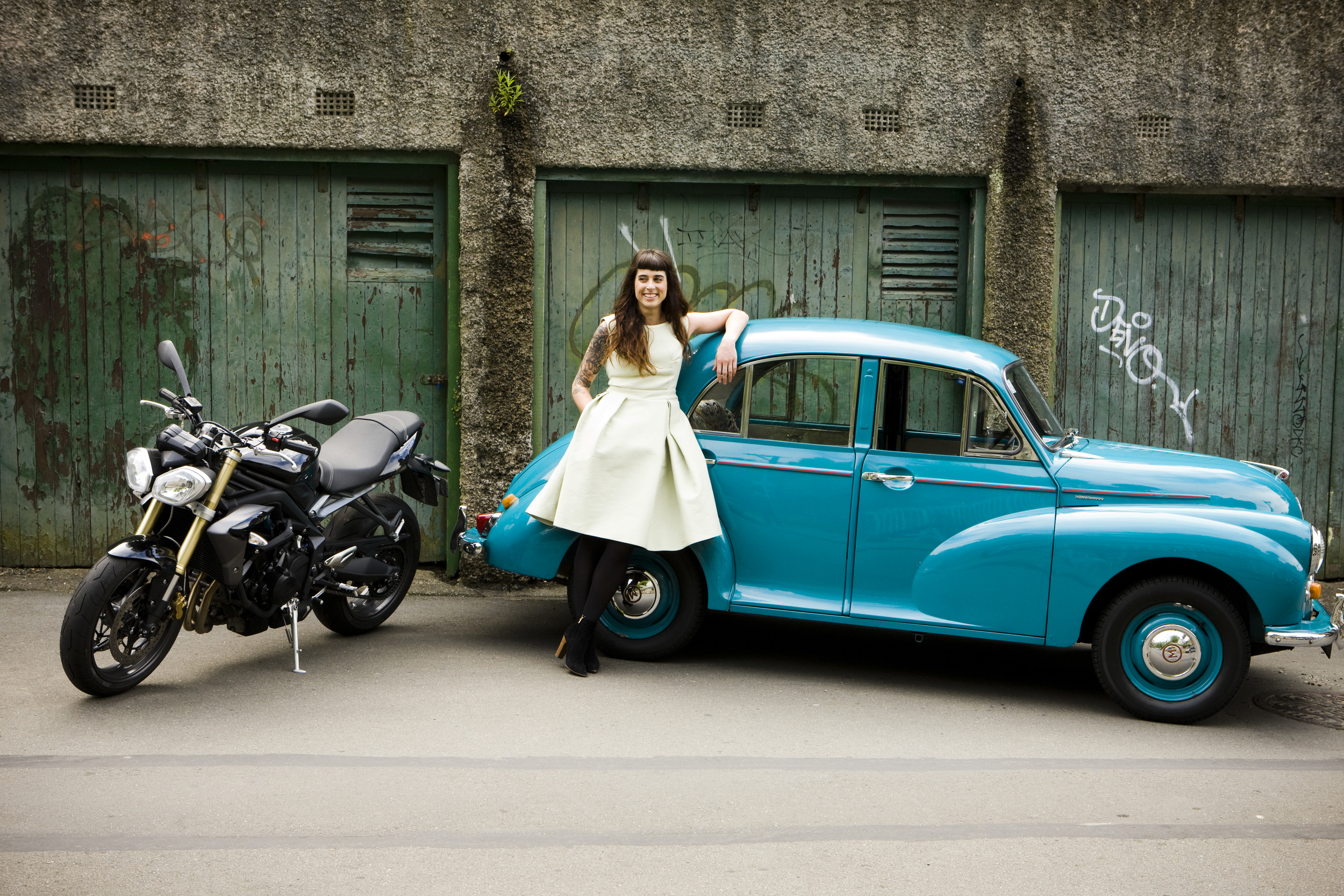 My former 2014 Triumph Street Triple & my 1958 Morris 'Maria' Minor 1000 which I restored with the help of my friends. Photography  Nicola Edmonds
