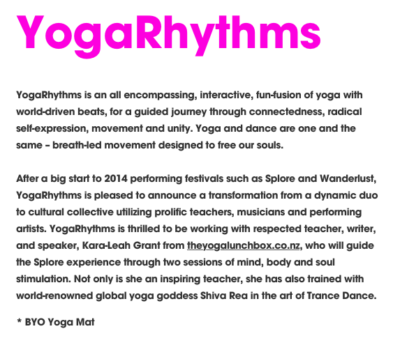 Miss Kara-Leah Grant  from  theyogalunchbox.co.nz  is taking two workshop not to miss too!
