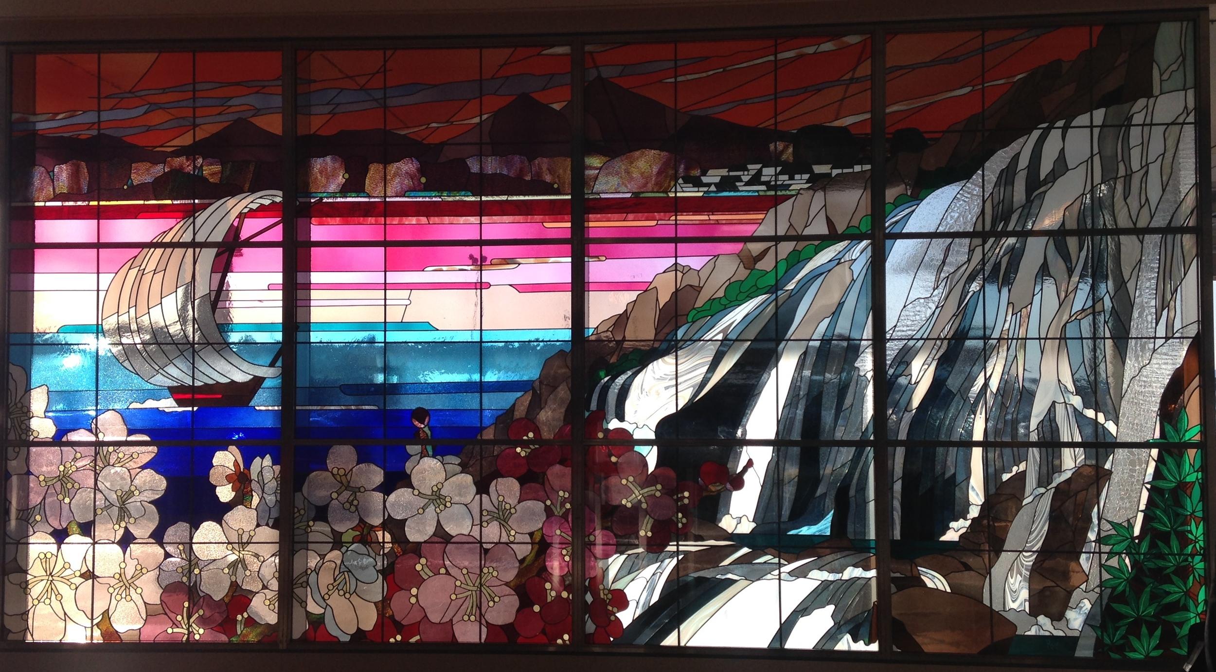 Ibaraki floor to ceiling stain glass