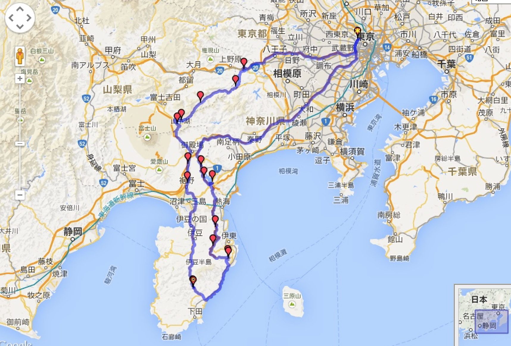 My route- Day one: straight out west to Fuji and then down to the Amagiso Onsen nestled right under a corkscrew highway  Day two: down along the coast to Shimoda, up- to Mount Omuro, along the famous Izu & Hakone Skyline roads and then North and back to Tokyo + amazing stops along the way