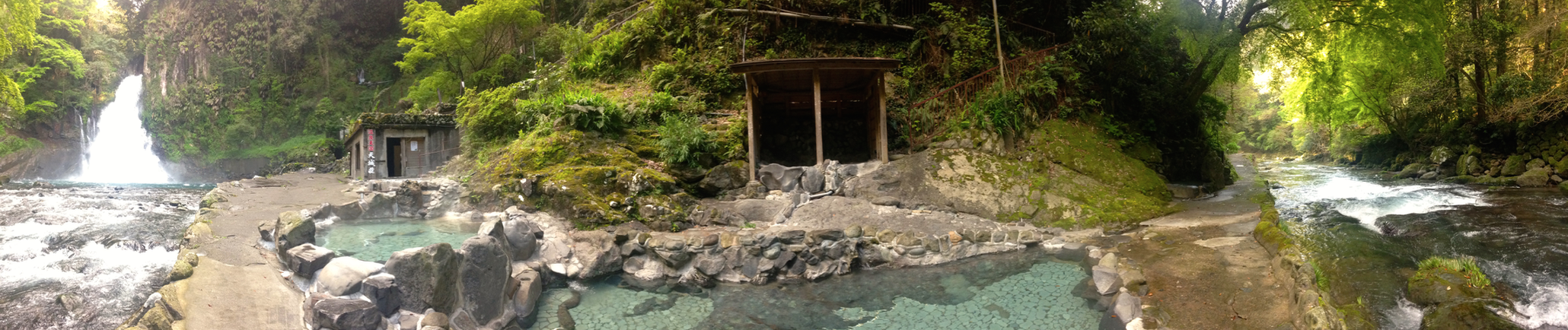 Outdoor onsen with waterfall? YES PLEASE!
