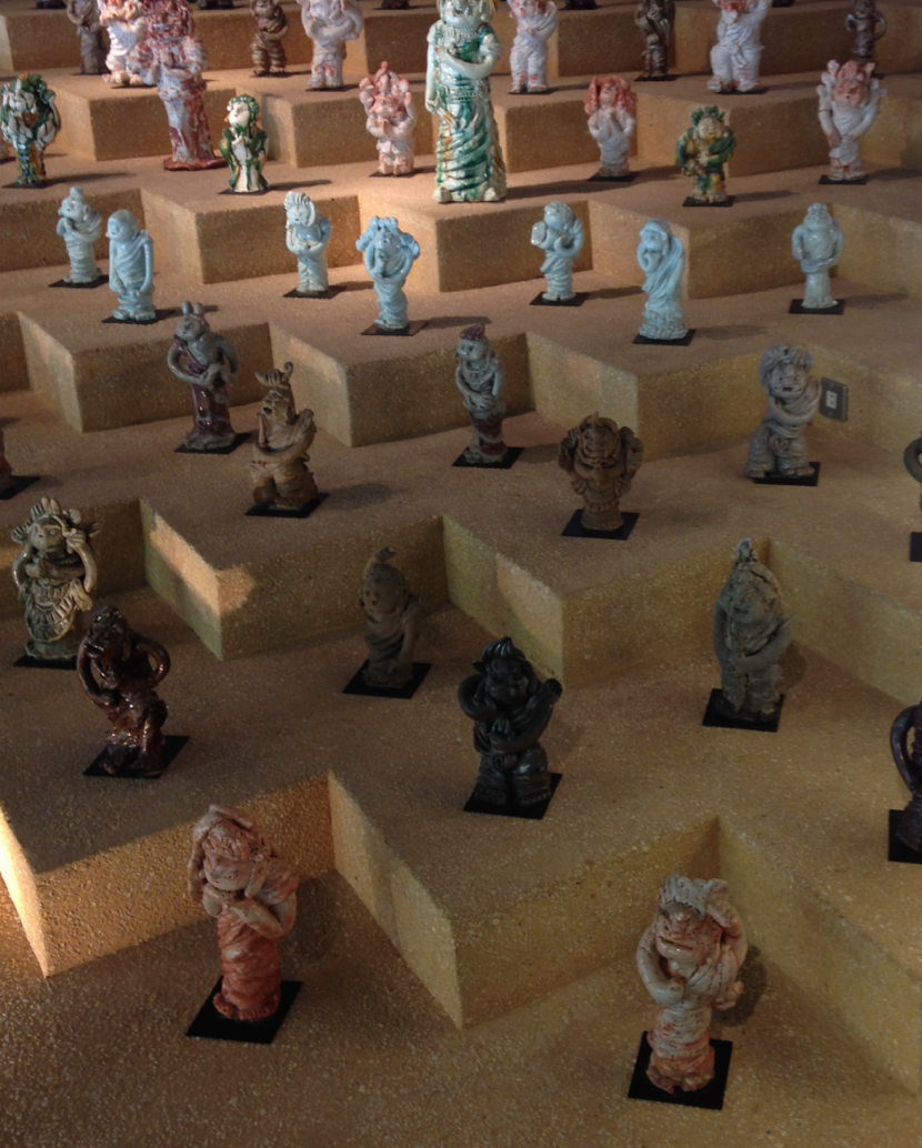 Shimizu's fantastic whimsical figurative pottery- love love LOVE, their facial expressions are priceless >-<