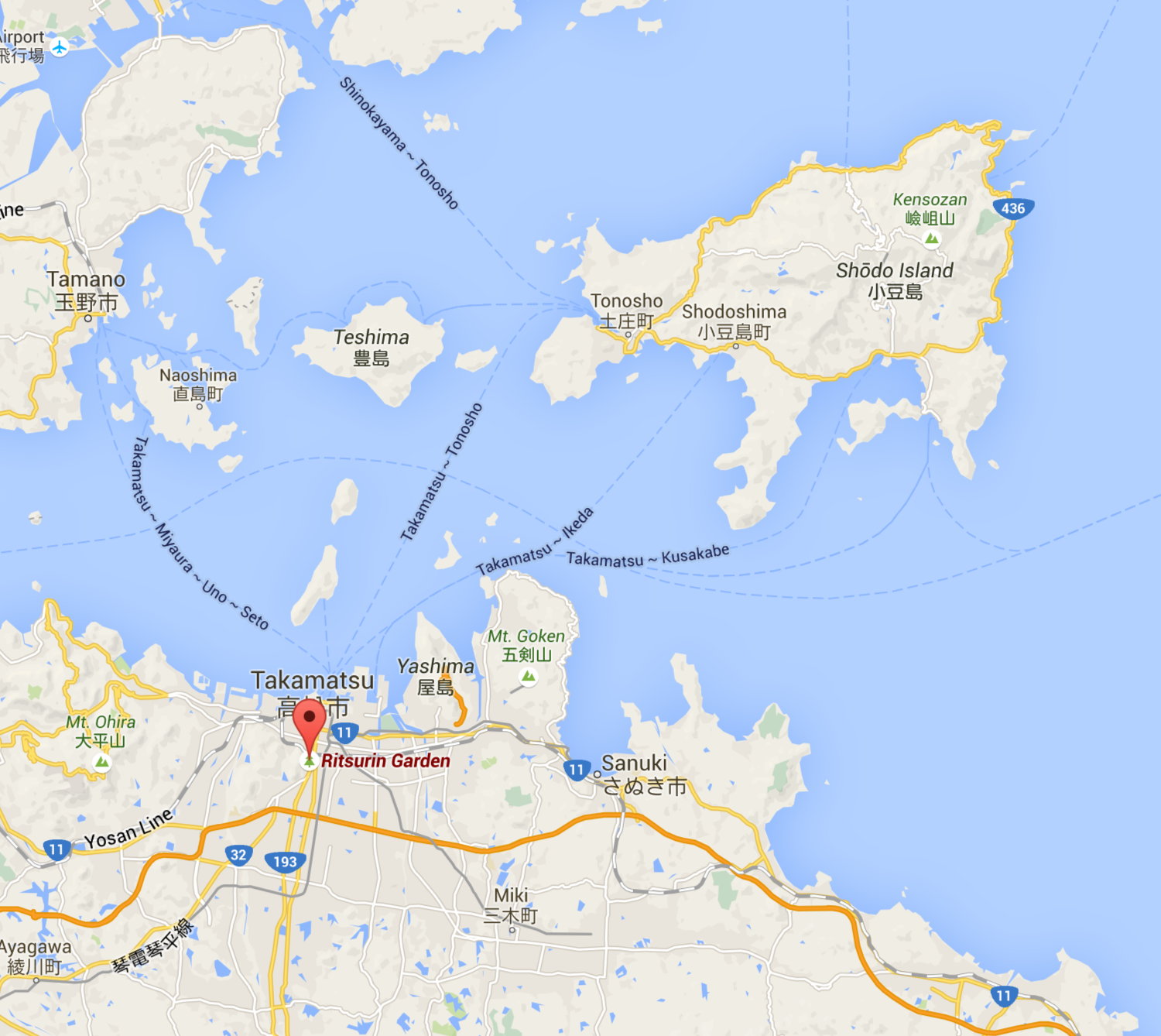 Takamatsu in relation to Shodoshima- an hour on the ferry from Tonosho port