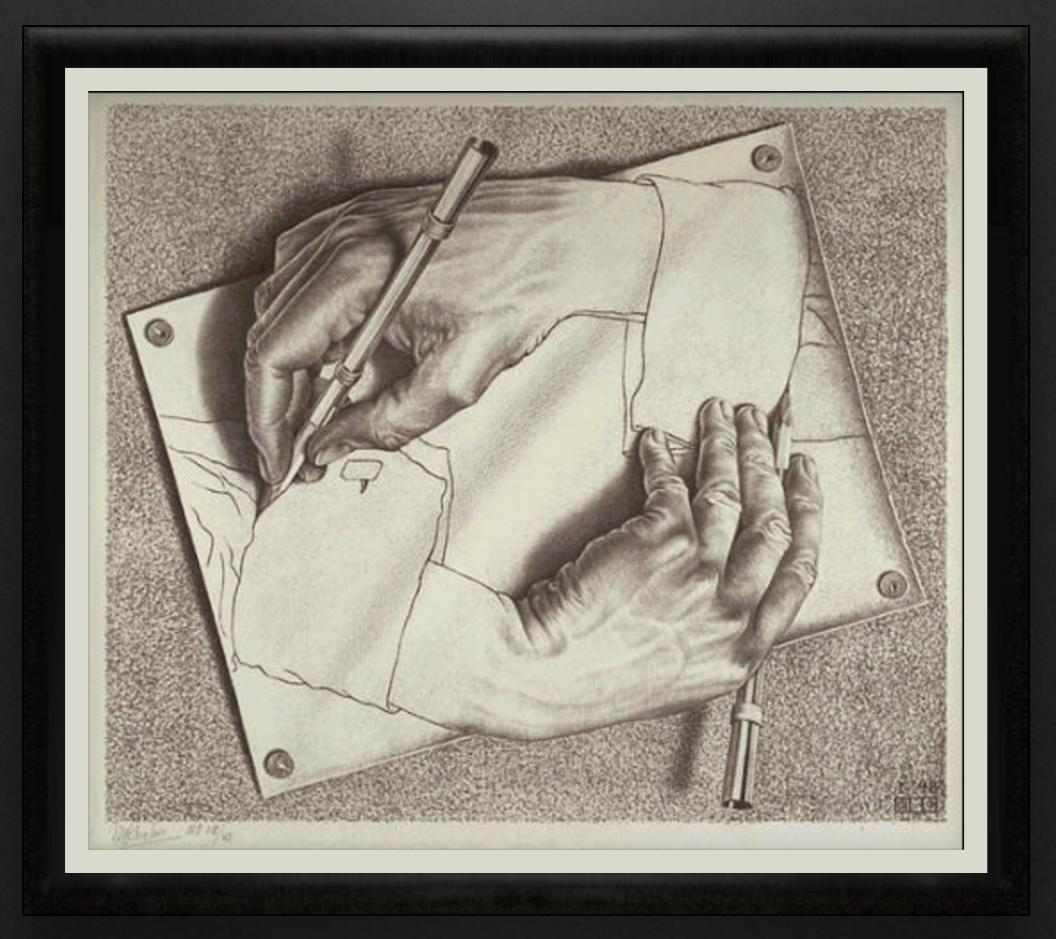 Drawing Hands, 1948, Lithograph. 332mm x 282mm.