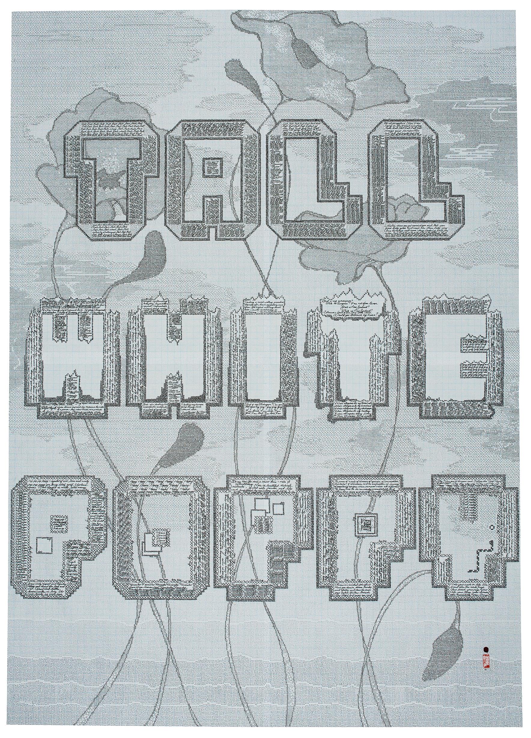 'Tall White Poppy',  Staedtler pigment liner, hanko & wax signature, 800 x 1120mm, 2016