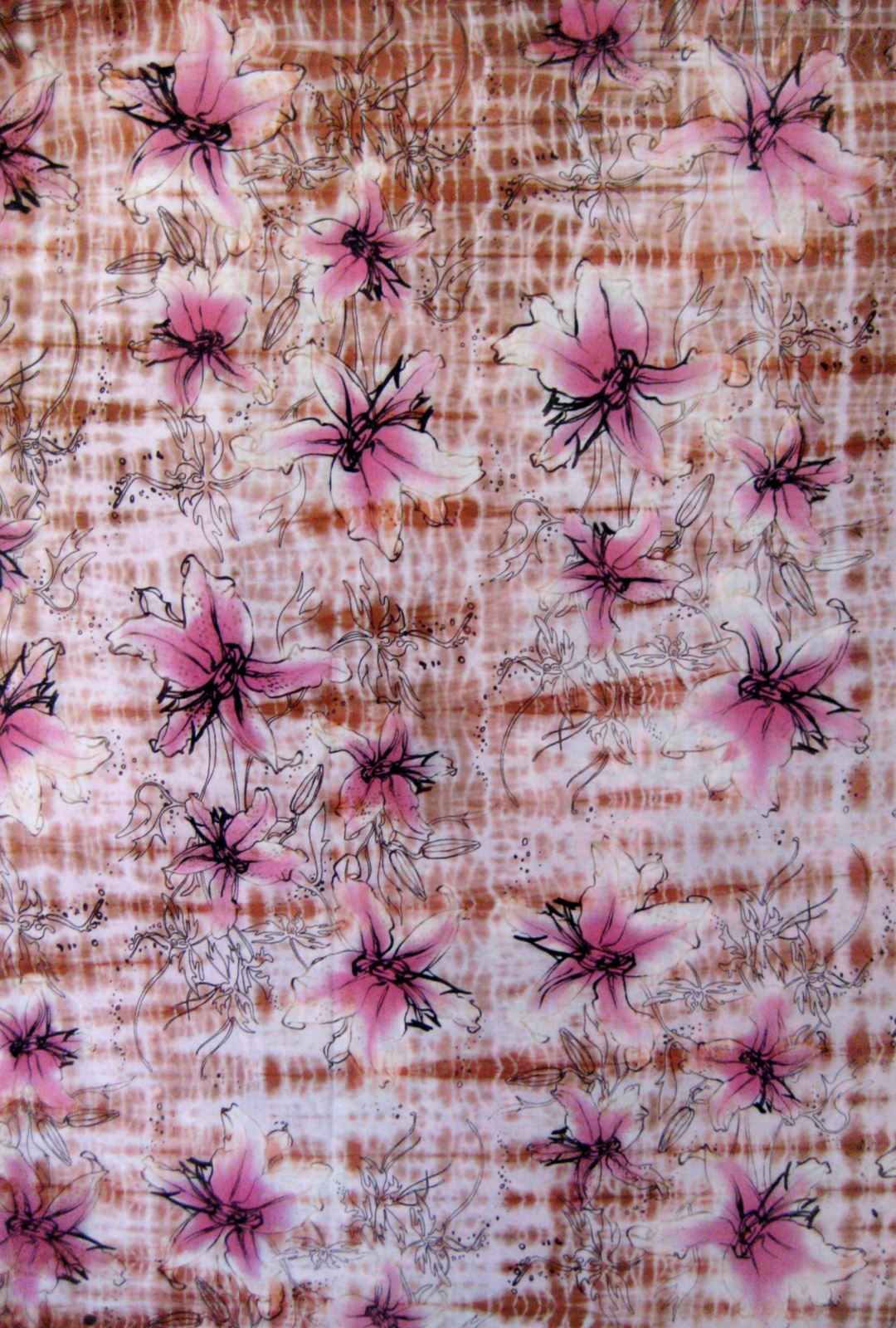 'Pacific Pallate', Shibori, Batik, and multiple dye processed silk, 2006