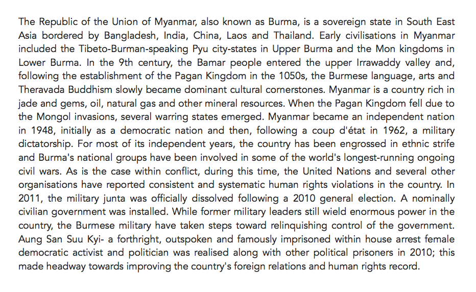 A brief summary I chopped together for an overview of Myanmar.