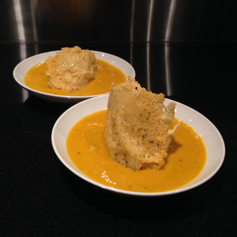 Thai Pumpkin Soup w/ Cheese Crisps