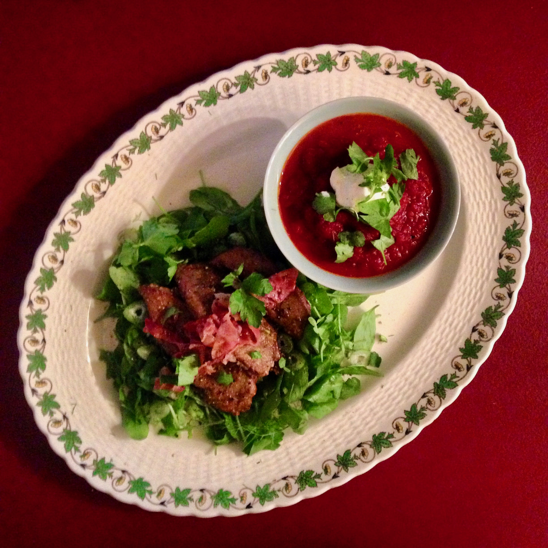 Lambs-fry & 'Nomato' Sauce