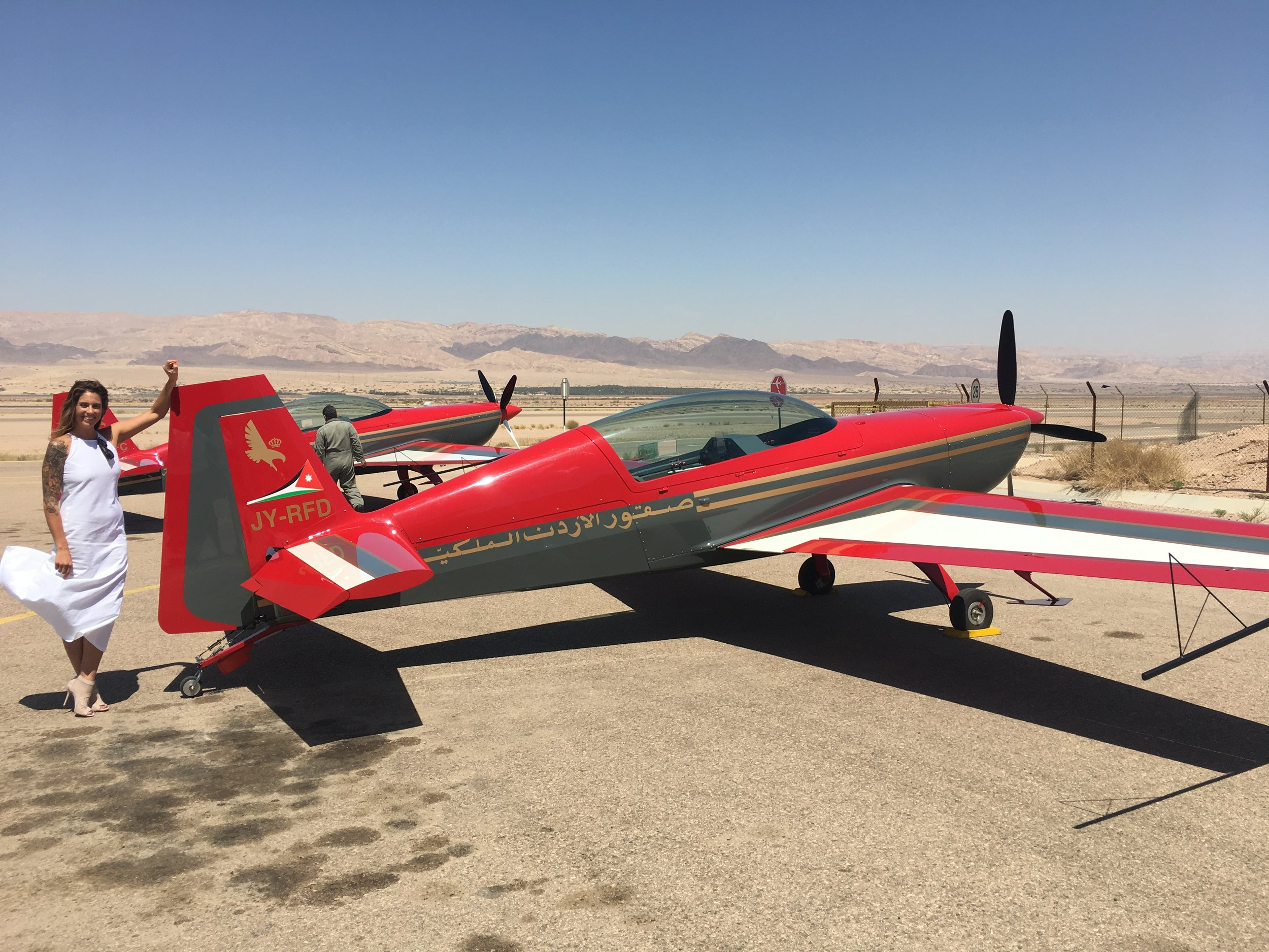 Moxham being treated to acrobatics over Aquaba in the Xtra 300L by the Royal Jordanian Falcons, Jordan