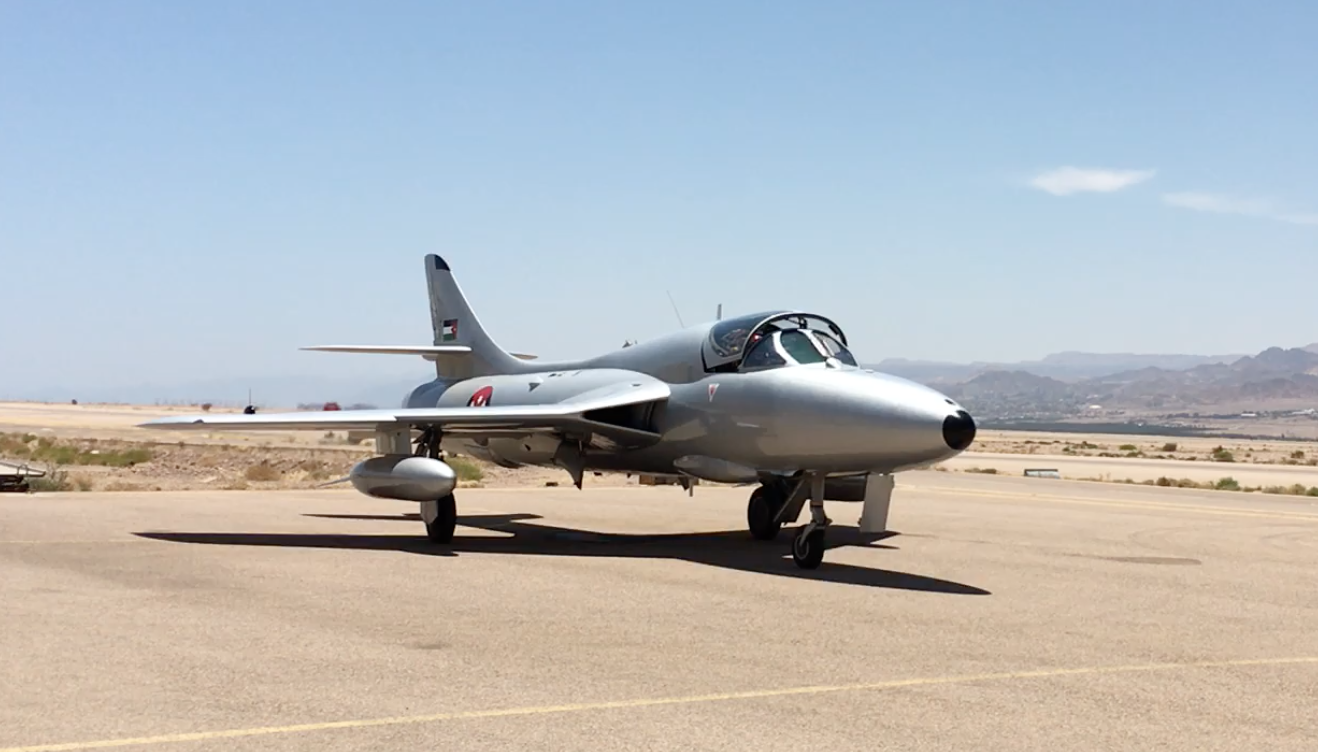 Moxham in the copilot seat of her girlhood dream- the Hawker Hunter Fighter Jet, Aquaba, Jordan