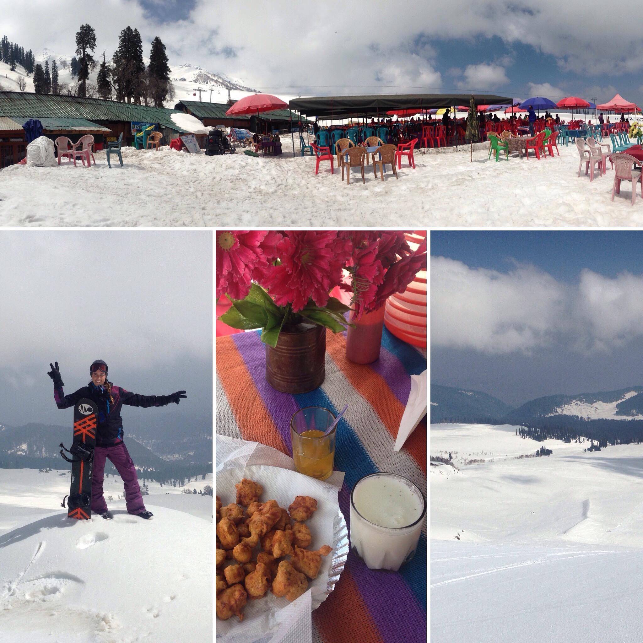 Snowboarding off the world's highest gondola @ 4,100 metres (13,500 feet) on Kongdori Mountain. Gulmarg Resort (Kongdoori-Aferwat), Gulmarg, Kashmir, Himalayas.