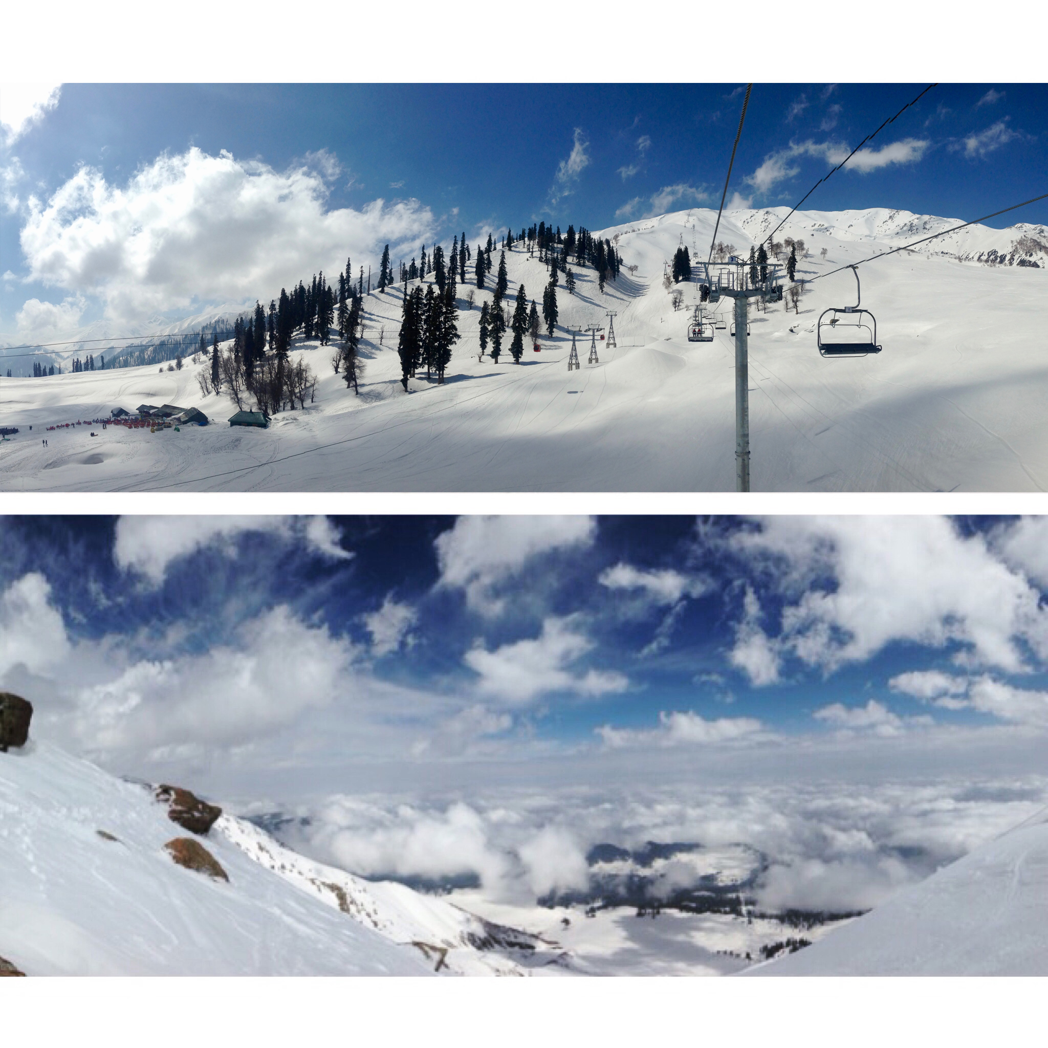 Snowboarding on Kongdori Mountain Gulmarg, Kashmir, Himalayas.