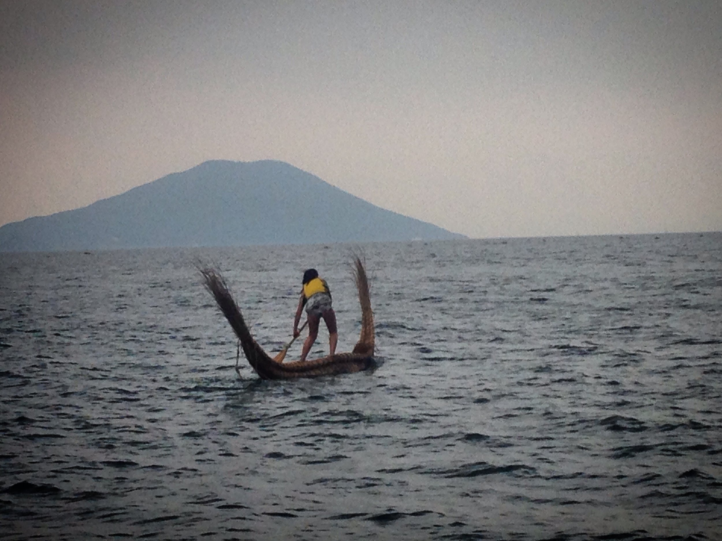 Paddling out into the Seto Inland Sea on a traditional Japanese wasen