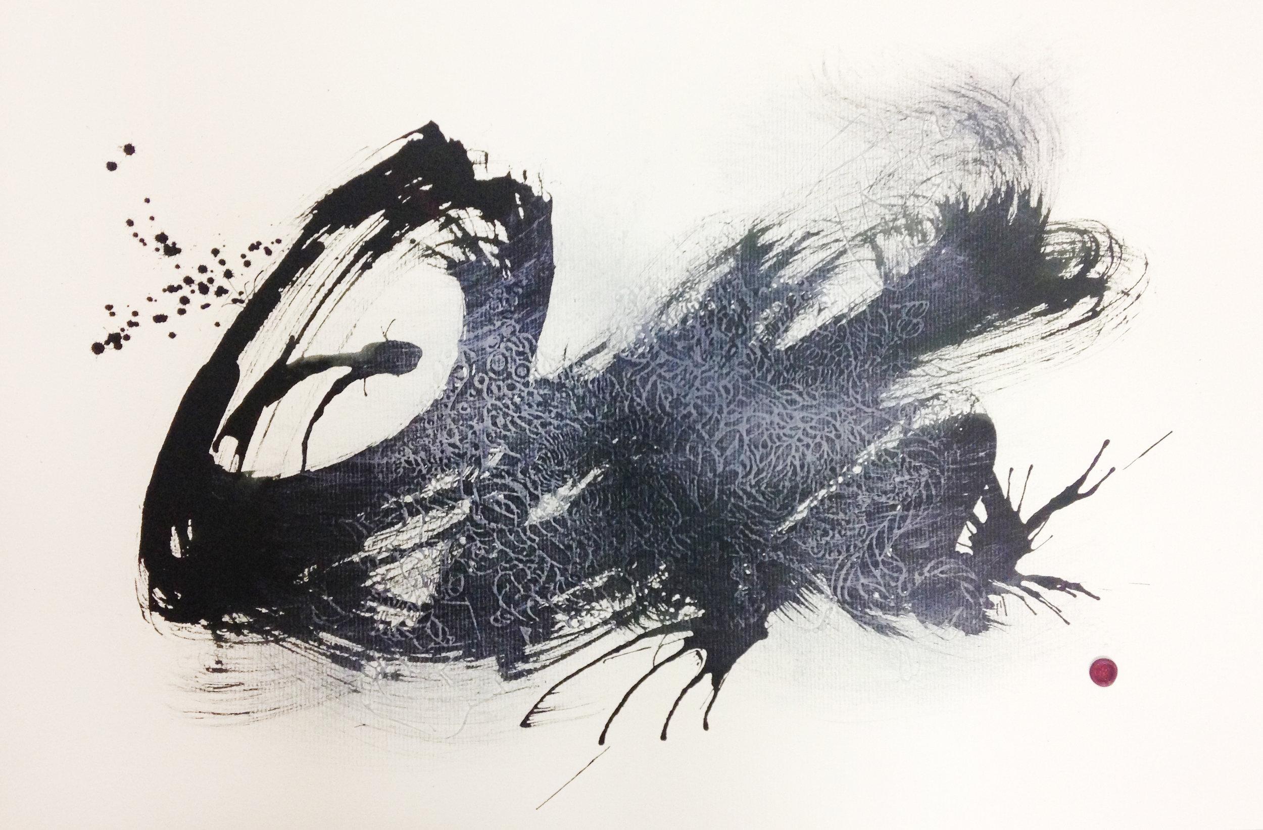 'Bedlam #1' , Paper embossing, inks, gouache, wax signature, 2014, 488 x 305mm