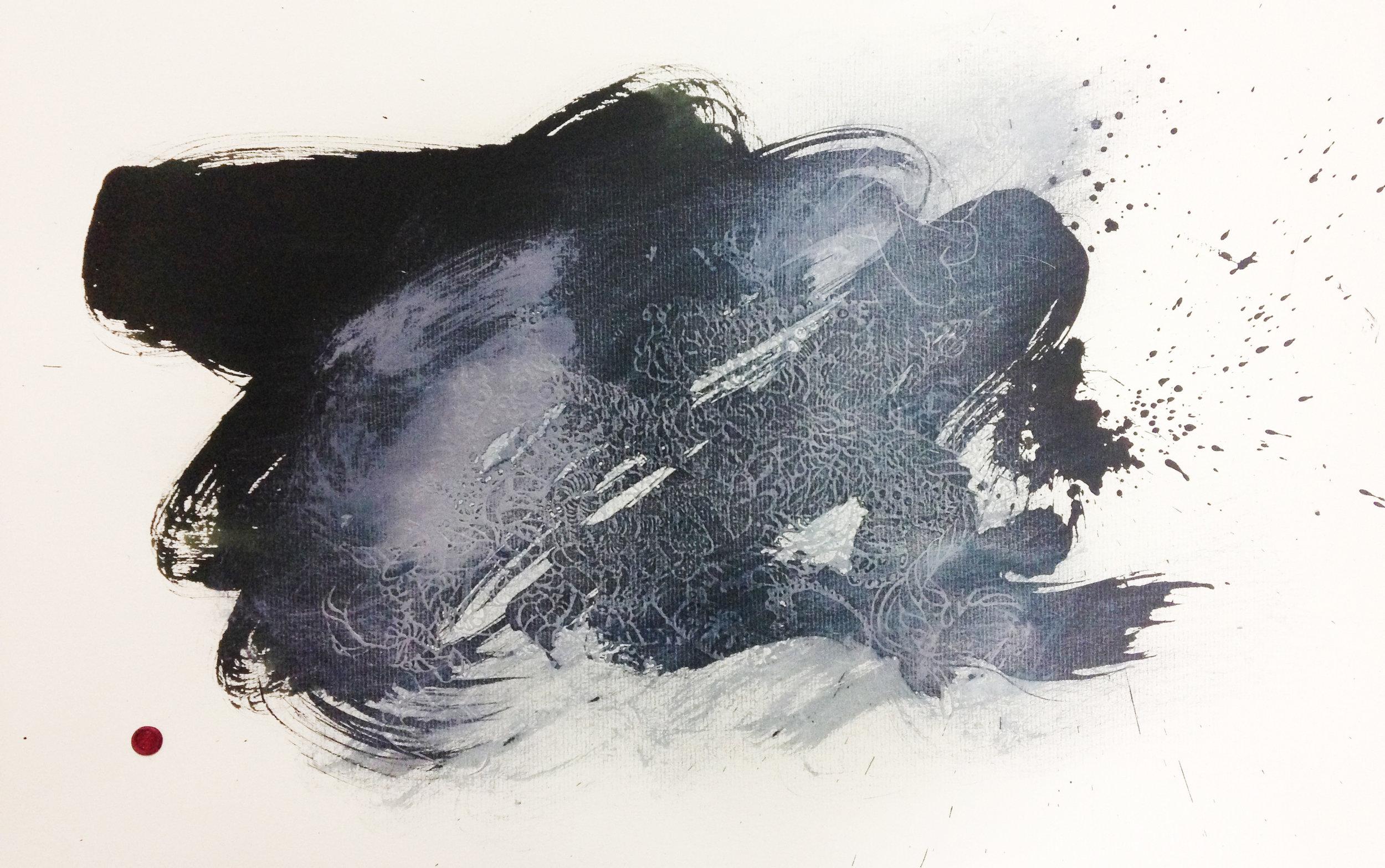 'Bedlam #2' ,   Embossing, inks, gouache, wax signature, 2014, 488 x 305mm