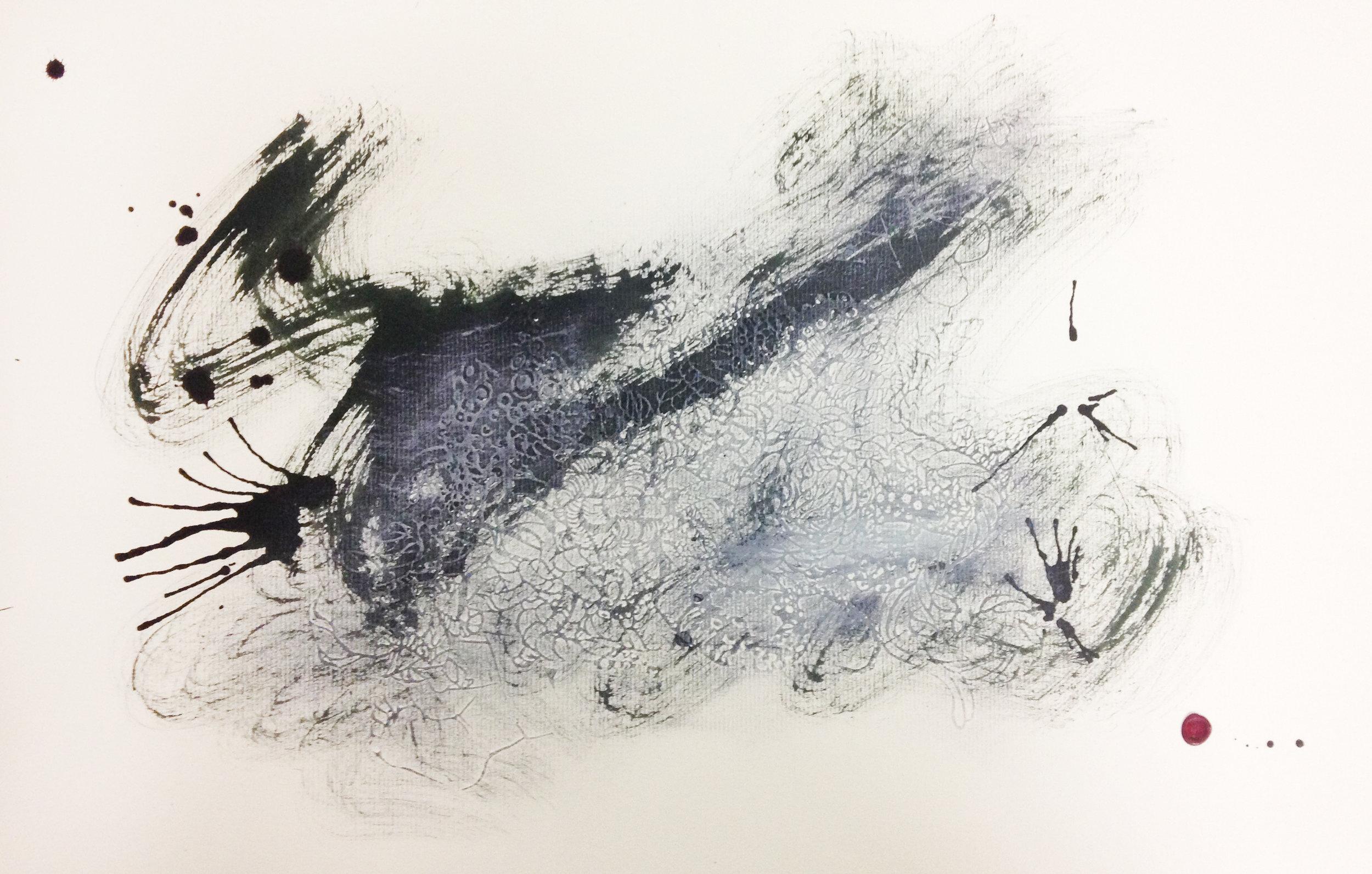'Bedlam #3' ,   Embossing, inks, gouache, wax signature, 2014, 488 x 305mm.