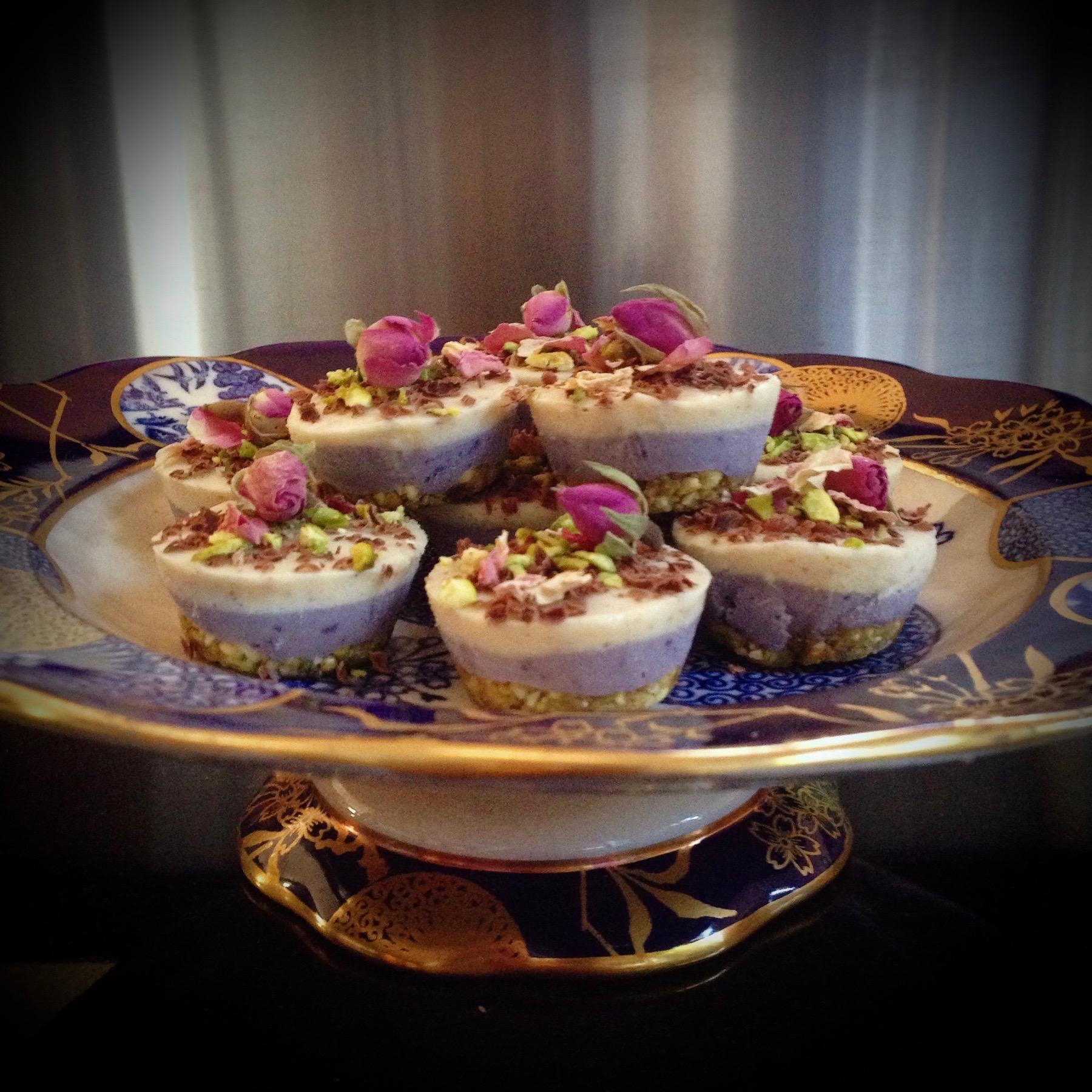 Mini Blueberry & Rose Cheesecakes