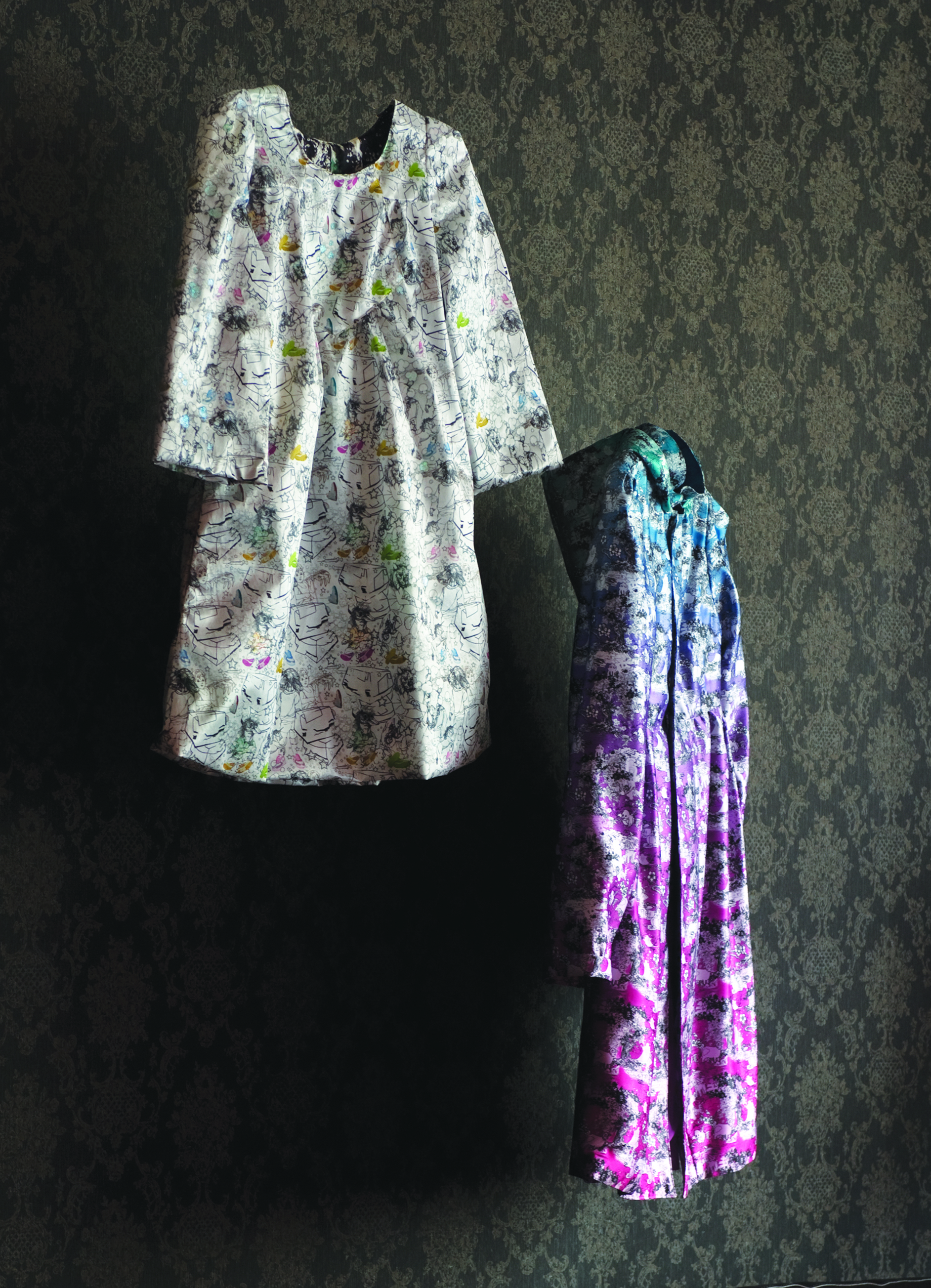 (left) 'Concrete Playground', (right) 'Ombre Outlook', Digitally printed, hand embroidered and painted satin, all unique originals, 2006.