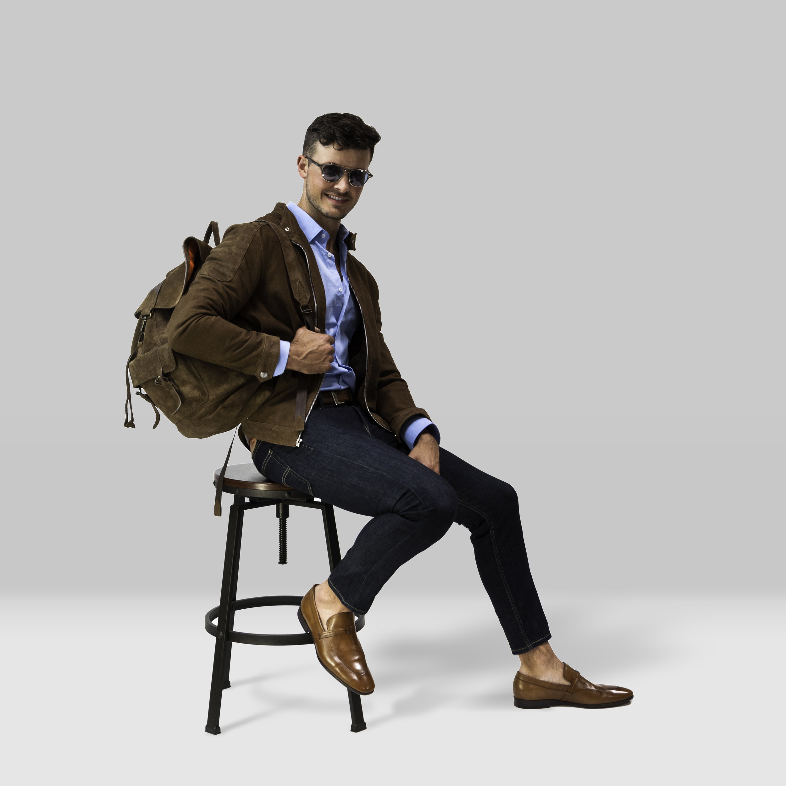 Look 1: Maple Suede - The Rufino in Maple | $650The Artisan Backpack in Maple | $375The 419H Leather Loafer | $335