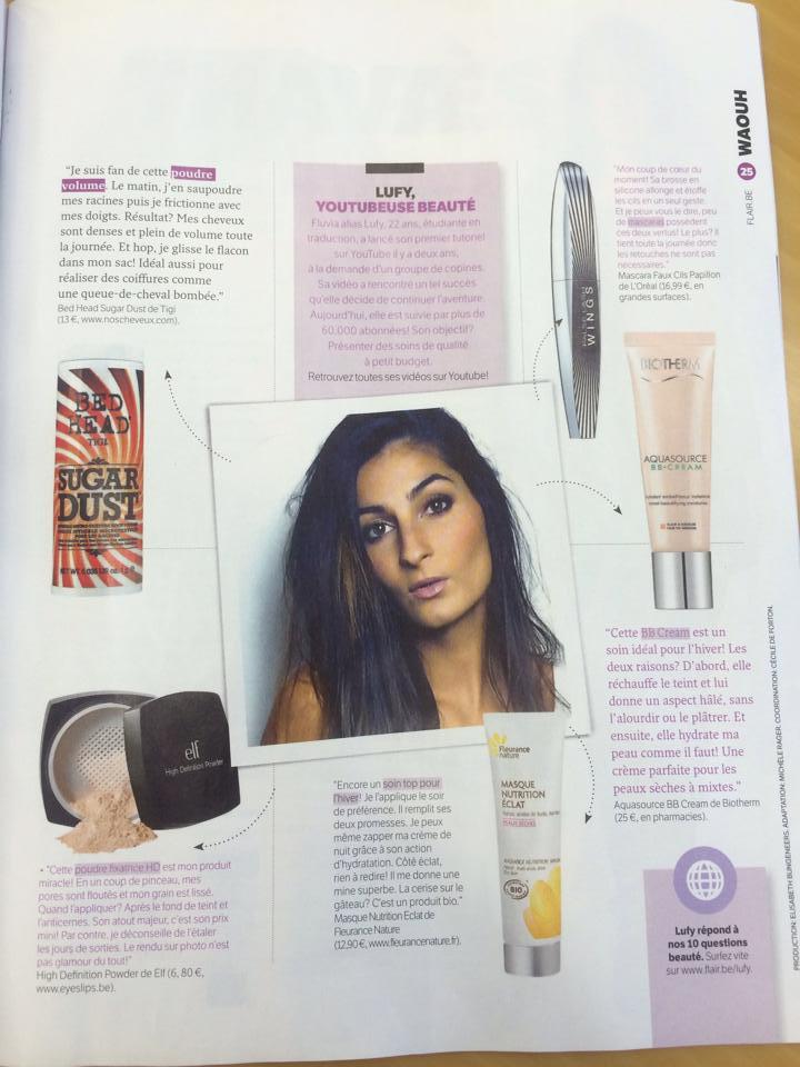 """""""5 produits favoris"""" pour le Magazine  Flair"""