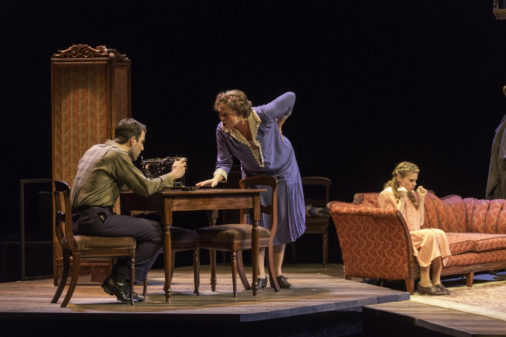 Tony Award winner Cherry Jones as Amanda Wingfield in The American Repertory Theater's revival of The Glass Menagerie with Zachary Quinto and Tony nominee Celia Keenan-Bolger