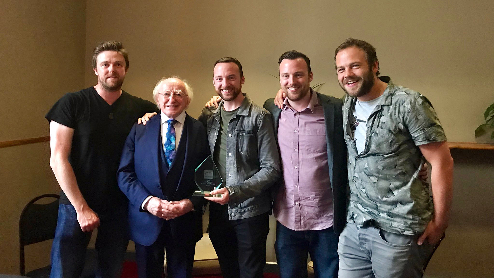 L-R Brian Falconer (Producer, Out of Orbit Films), Michael D Higgins (President of Ireland), Ryan and Andy Tohill (Directors) and actor Moe Dunford (Ronan Callahan).
