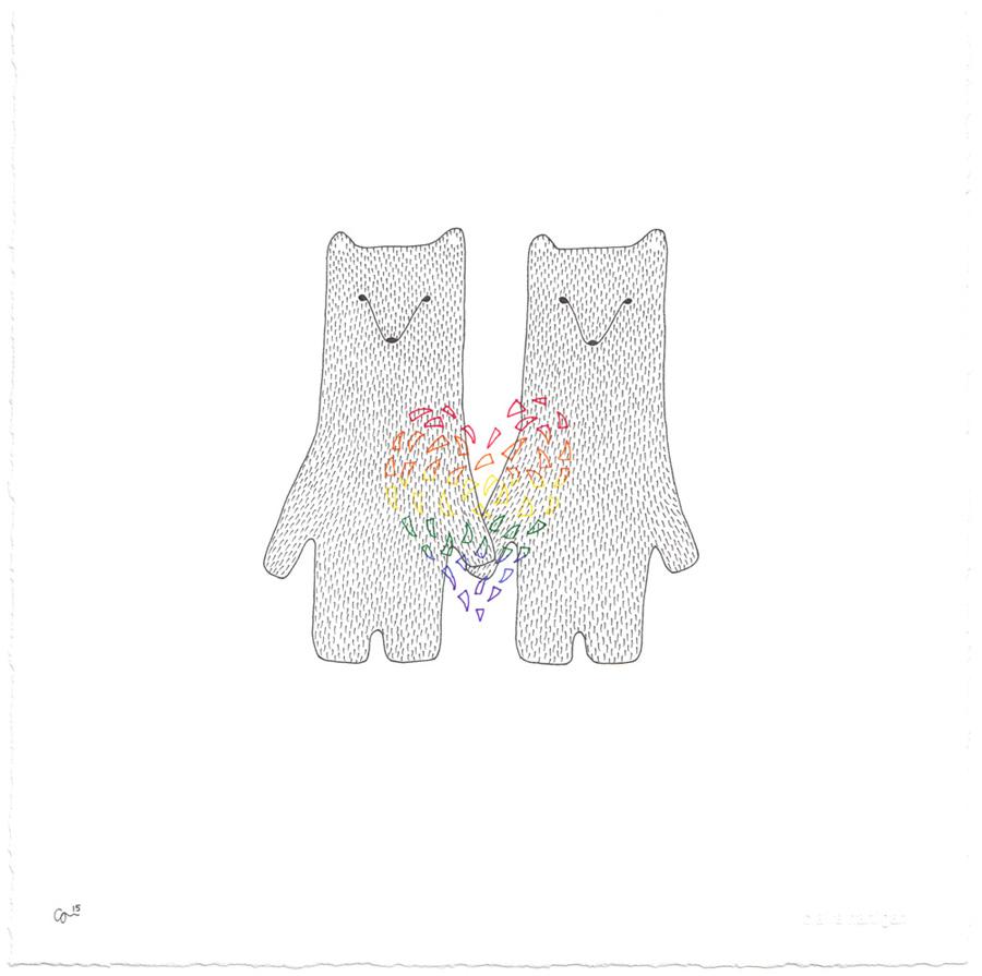 Claire Hartigan. Valentine Bears Rainbow.jpg