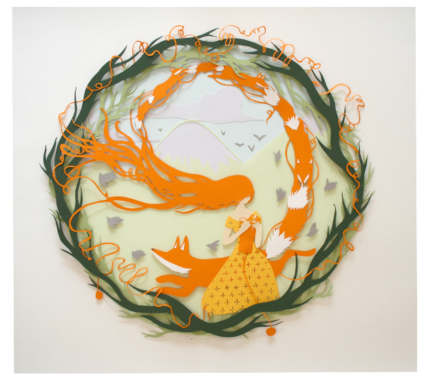 Knitted Fox  paper cut  sold