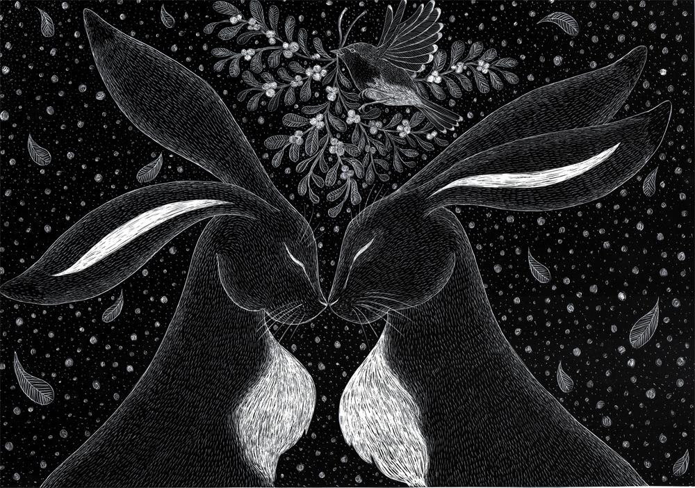 Mistletoe Hares  scraperboard  £278 (framed)