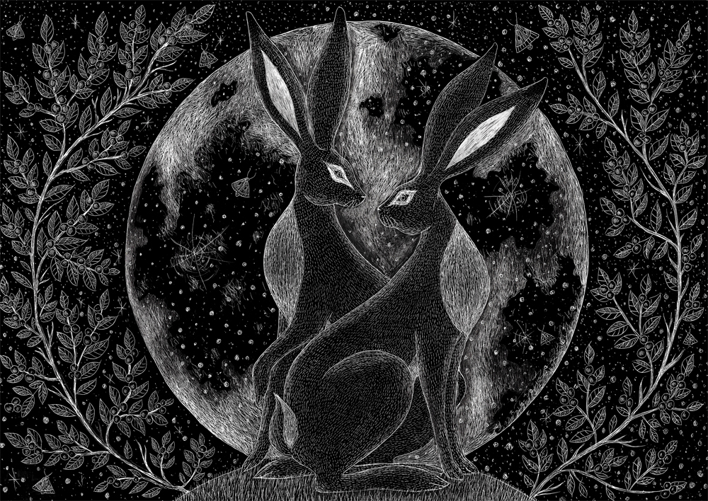 Winter Hares Beneath the Moon  scraperboard  £278 (framed)