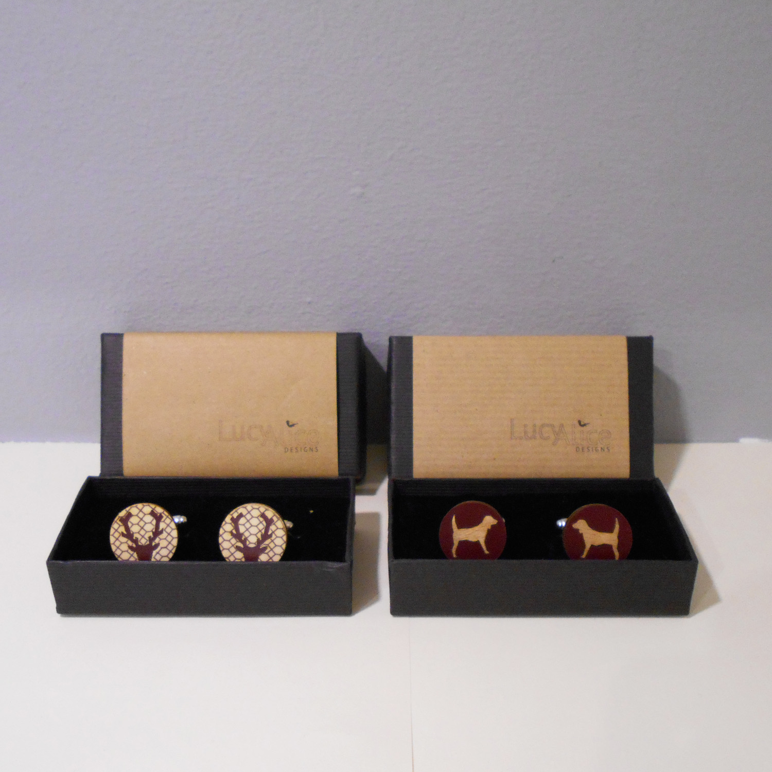 Lucy Alice   Stag Cufflinks and Dog Cufflinks  wood  £29 per pair
