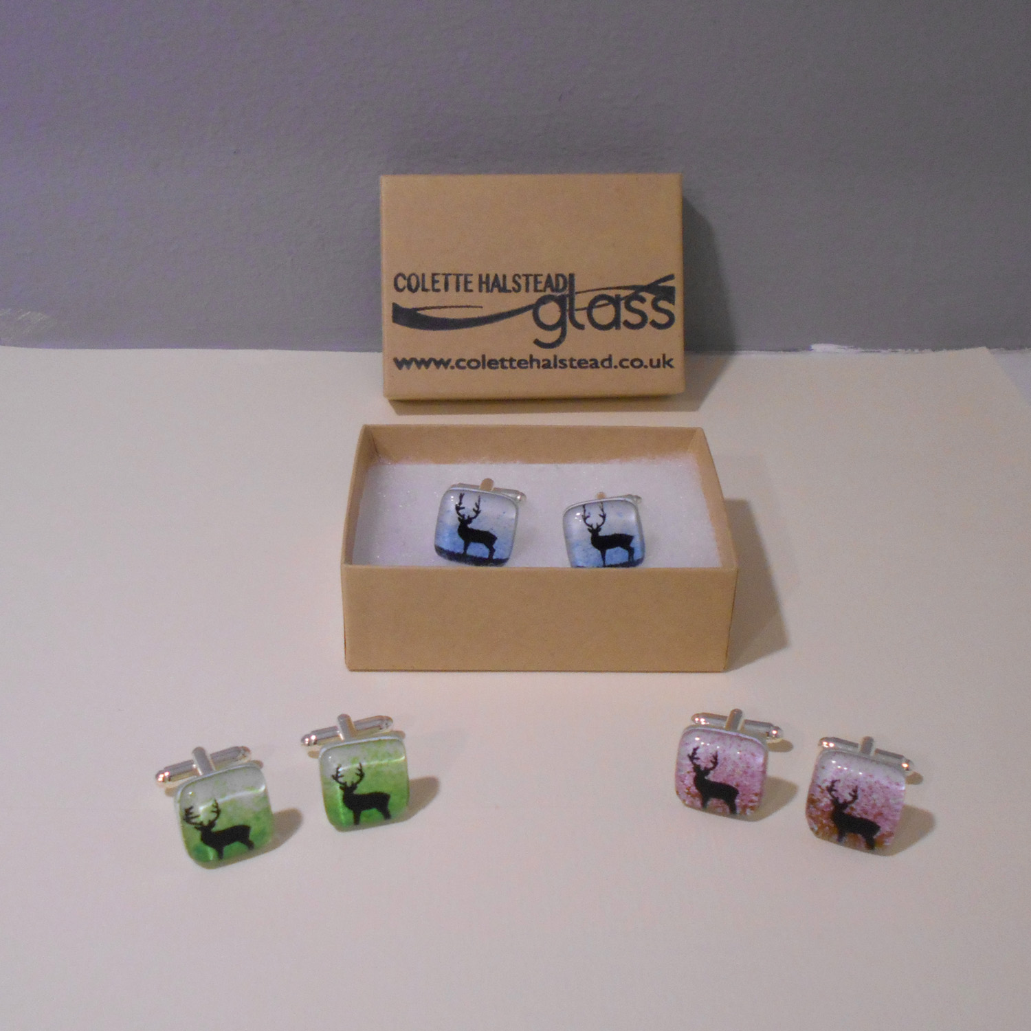 Colette Halstead   Stag Cufflinks in Green, Blue and Pink  glass  £27  per pair