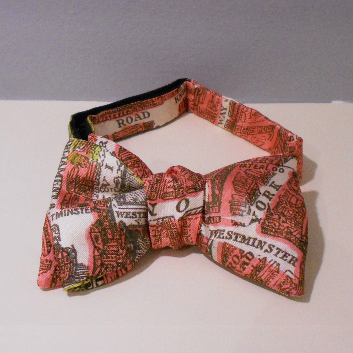 Helen Chatterton   City in Cloth Bow Tie Orange  silk  £50