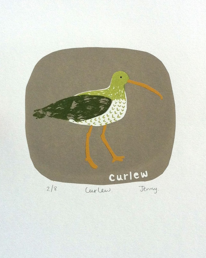 Curlew  screen print  image size - 15.7cm x 19cm  £73