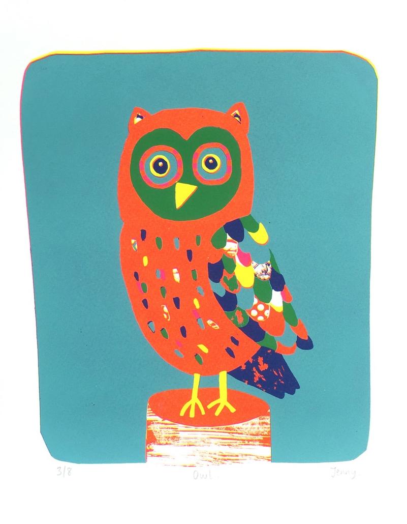 Owl  screen print  paper size - 25cm x 32cm  image size - 19.5cm x 23.5cm  £73
