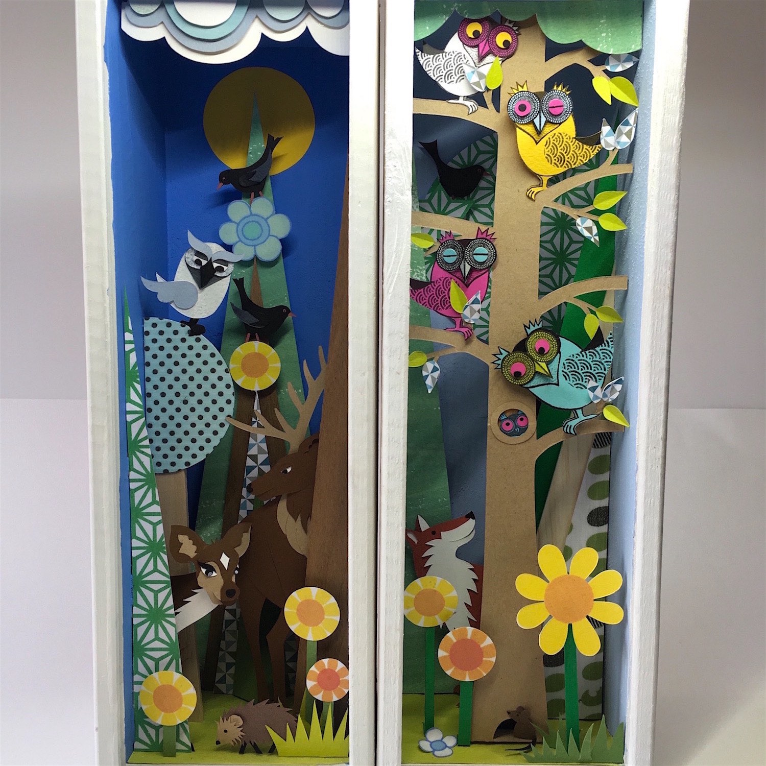 Port Box Owls and Port Box Forest   papercut    £264 each (framed)