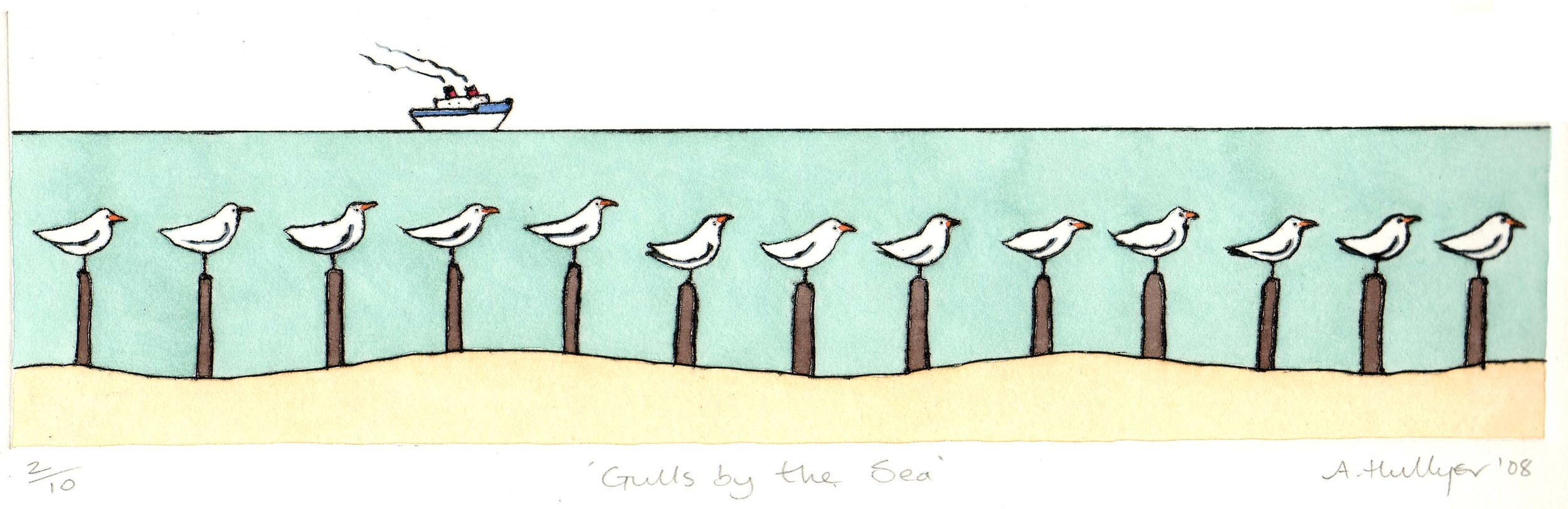 Gulls by the Sea  drypoint  25.5 x 8cm  SOLD OUT