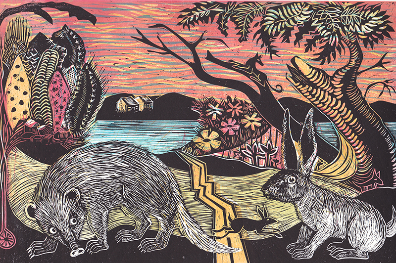 Jack Rabbit and Cactus  Linocut  £90 (unframed)