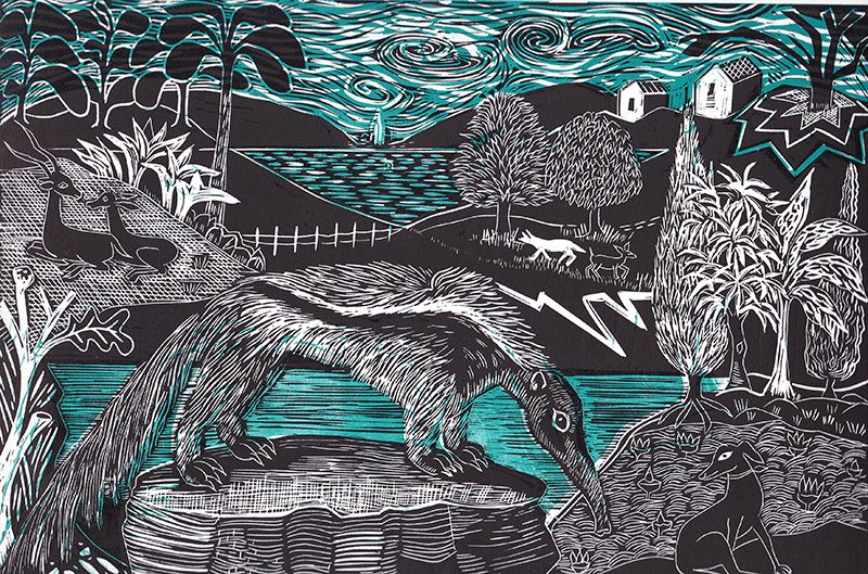 Anteater and Whippet  Linocut  £90 (unframed)