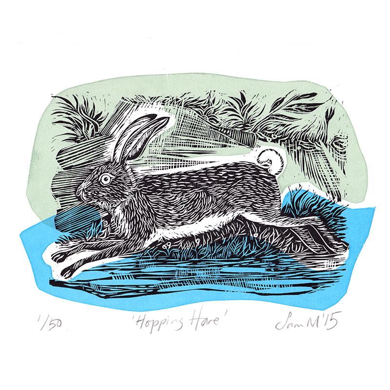 Hopping Hare  Linocut  £75