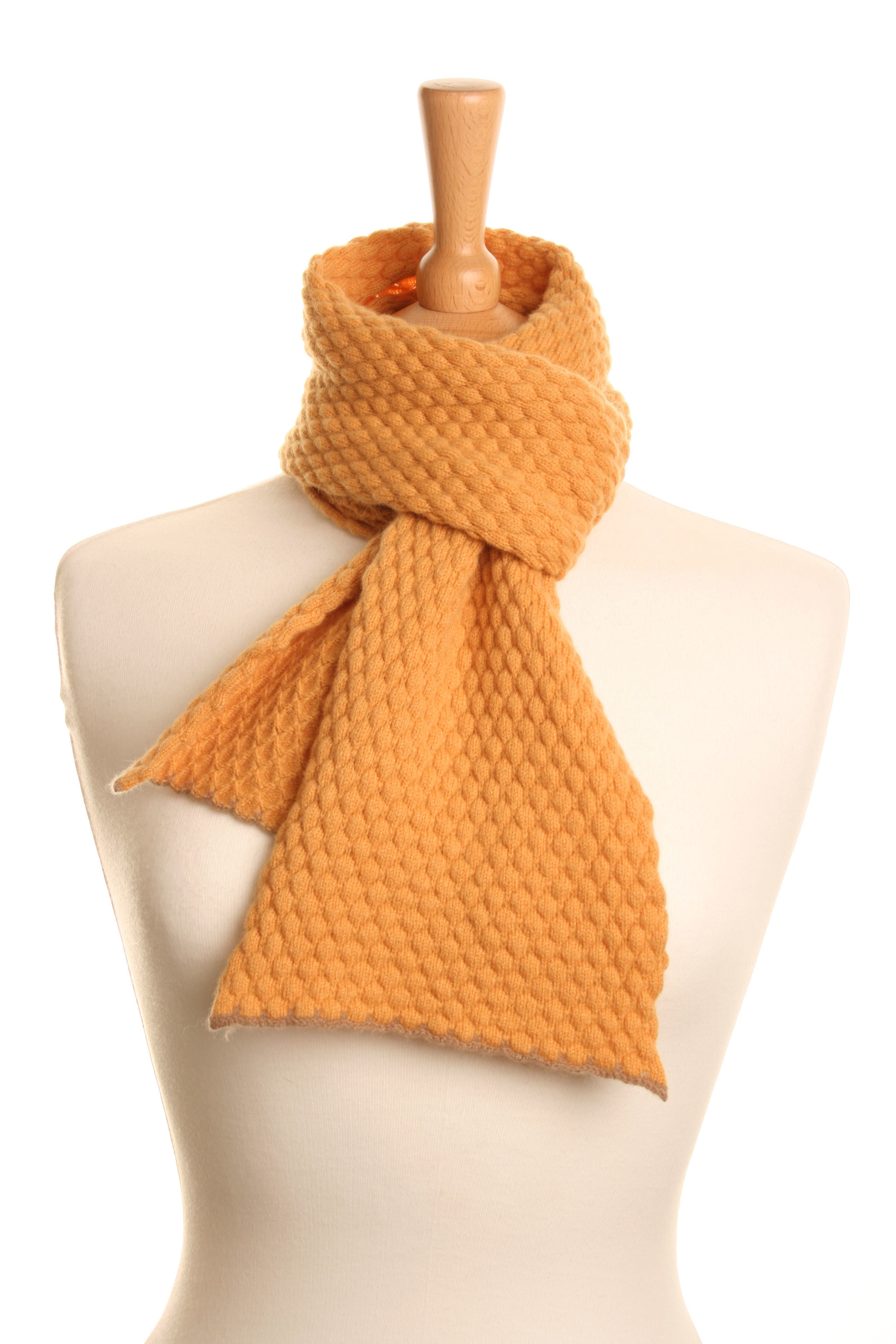 Golden Honeycomb Scarf  Knitted Lambswool  £50