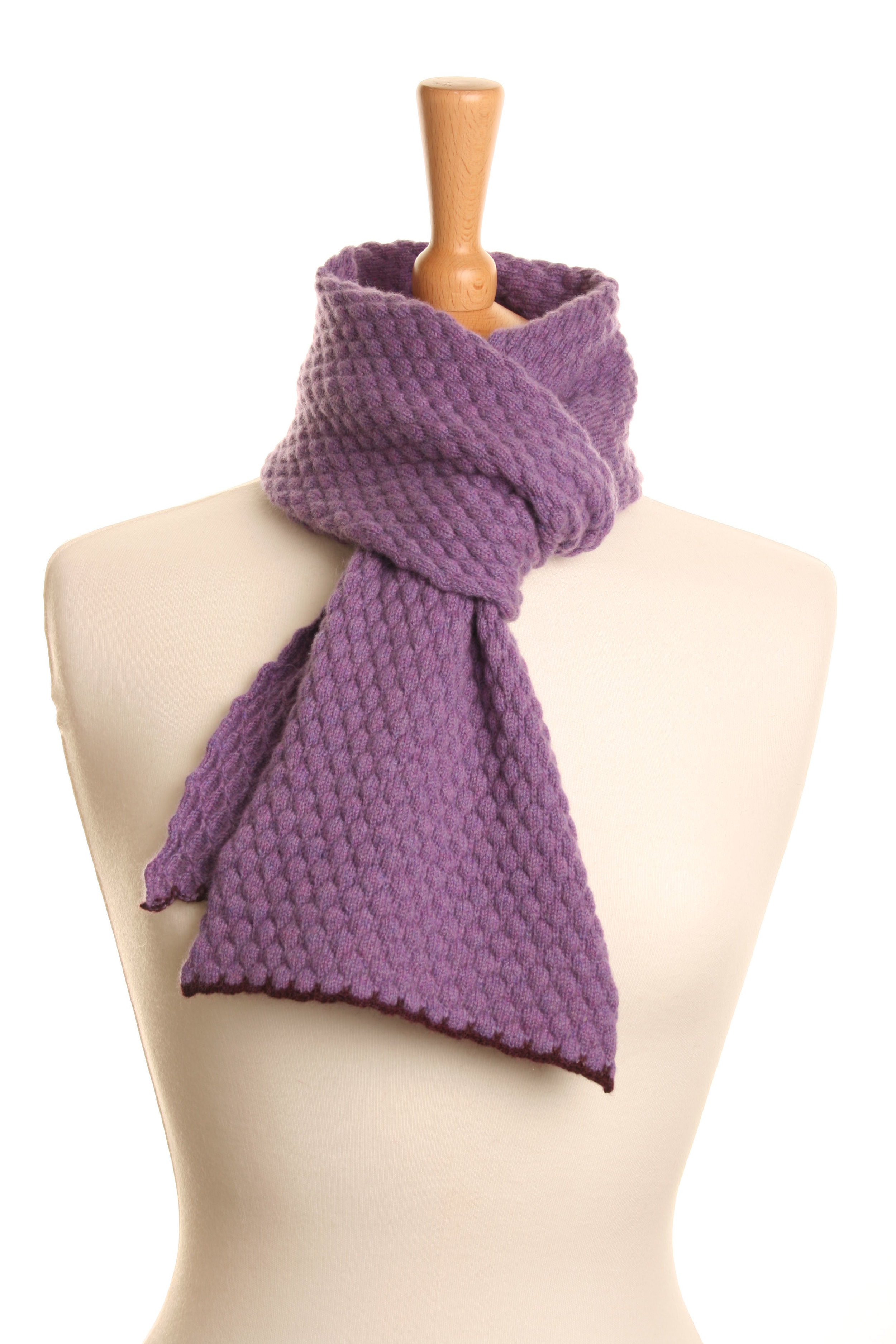 Purple Honeycomb Scarf  Knitted Lambswool  £50