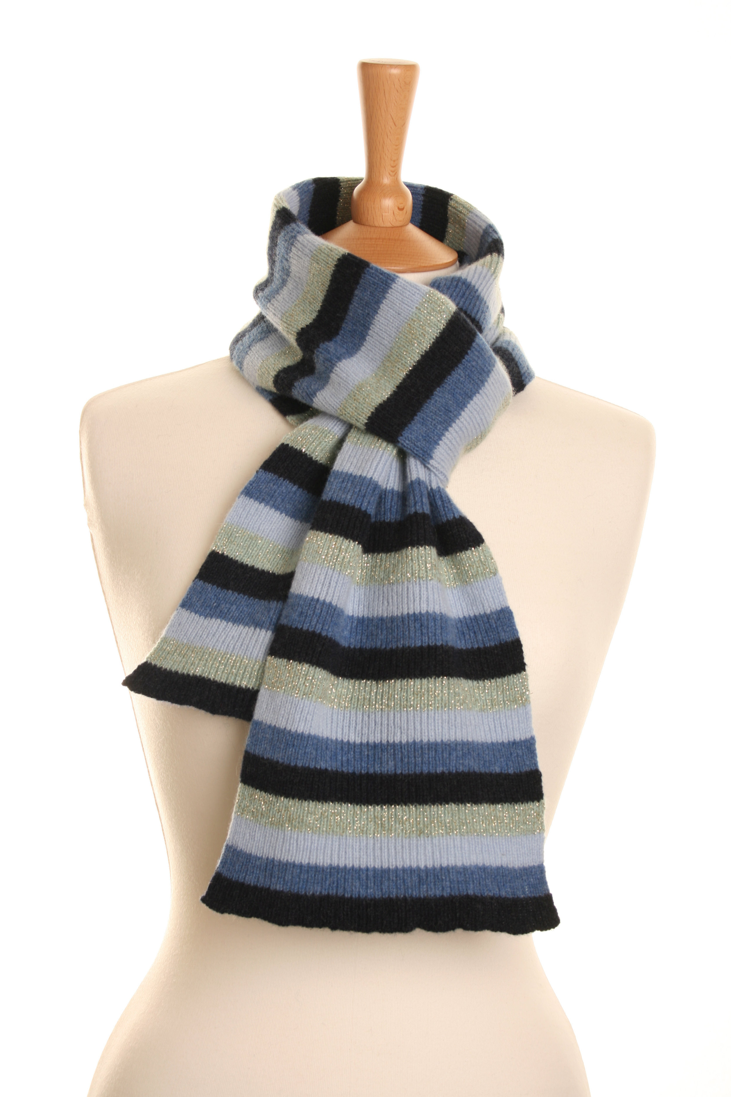 Stripy Luxe Blue Scarf  Knitted Lambswool  £50