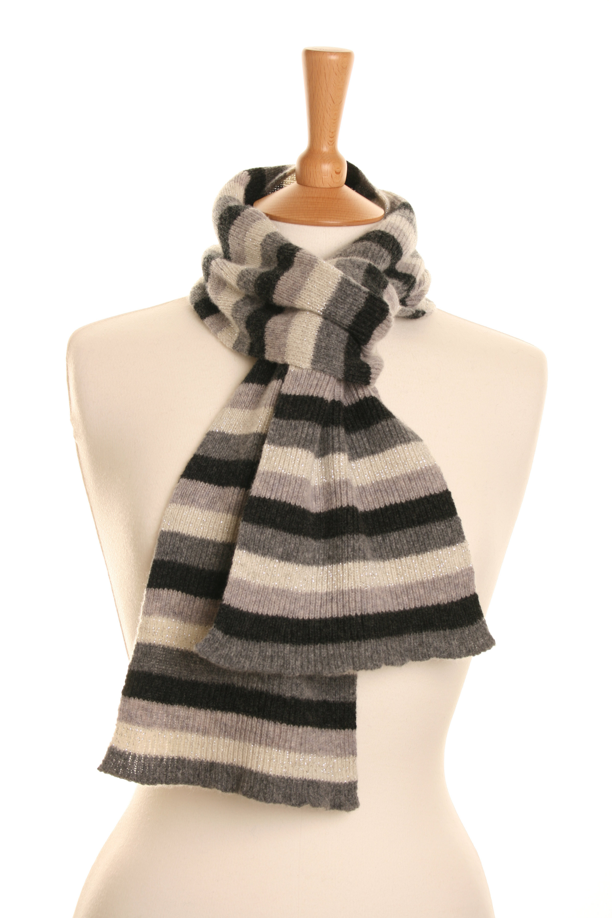 Stripy Luxe Grey Scarf  Knitted Lambswool  £50