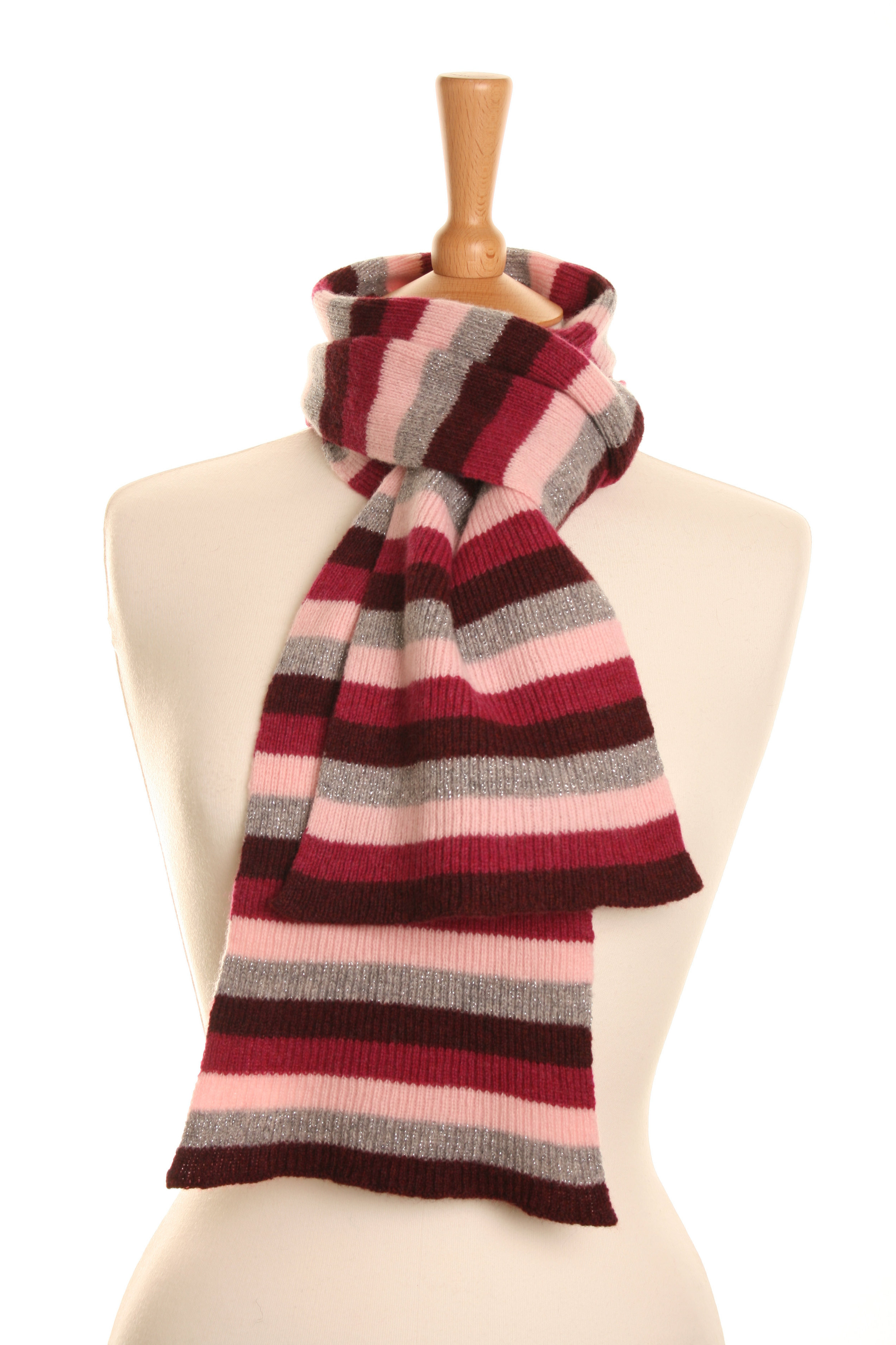 Stripy Luxe Pink Scarf  Knitted Lambswool  £50