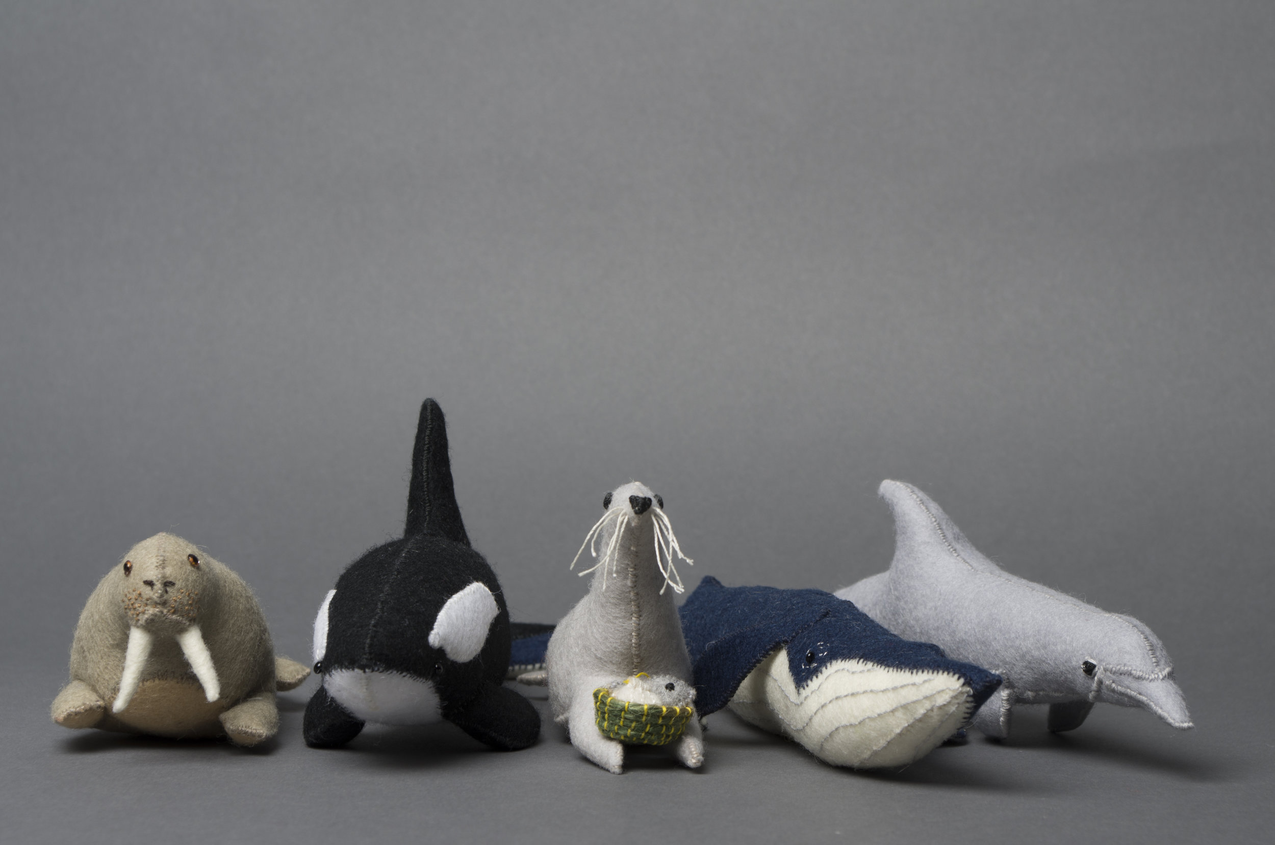Lillian Bixler  Walrus, Orca, Seal, Blue Whale, Dolphin  woolen felt  £55 each