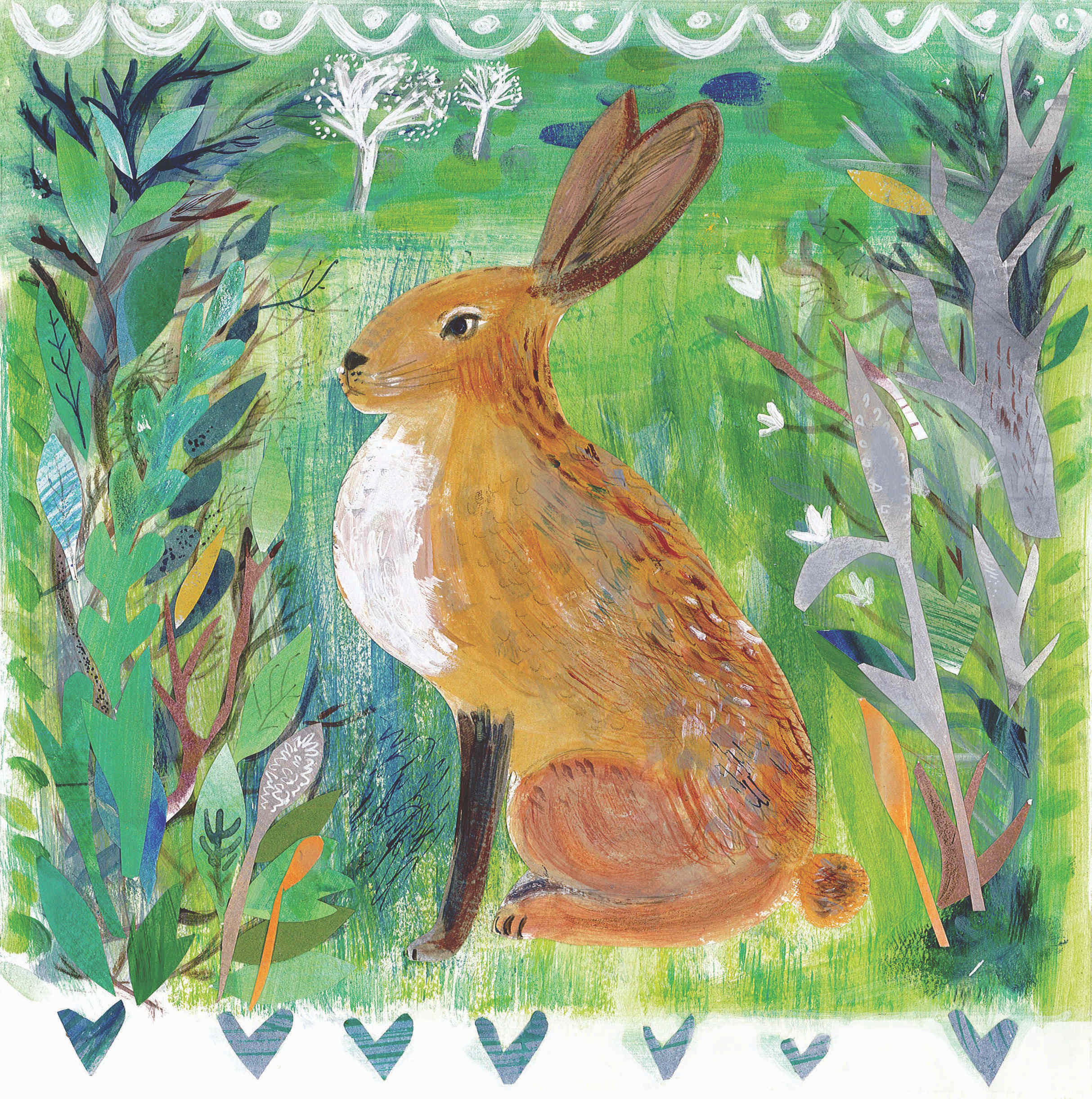 Brown Hare  mixed media  30 x 30cm  £180framed